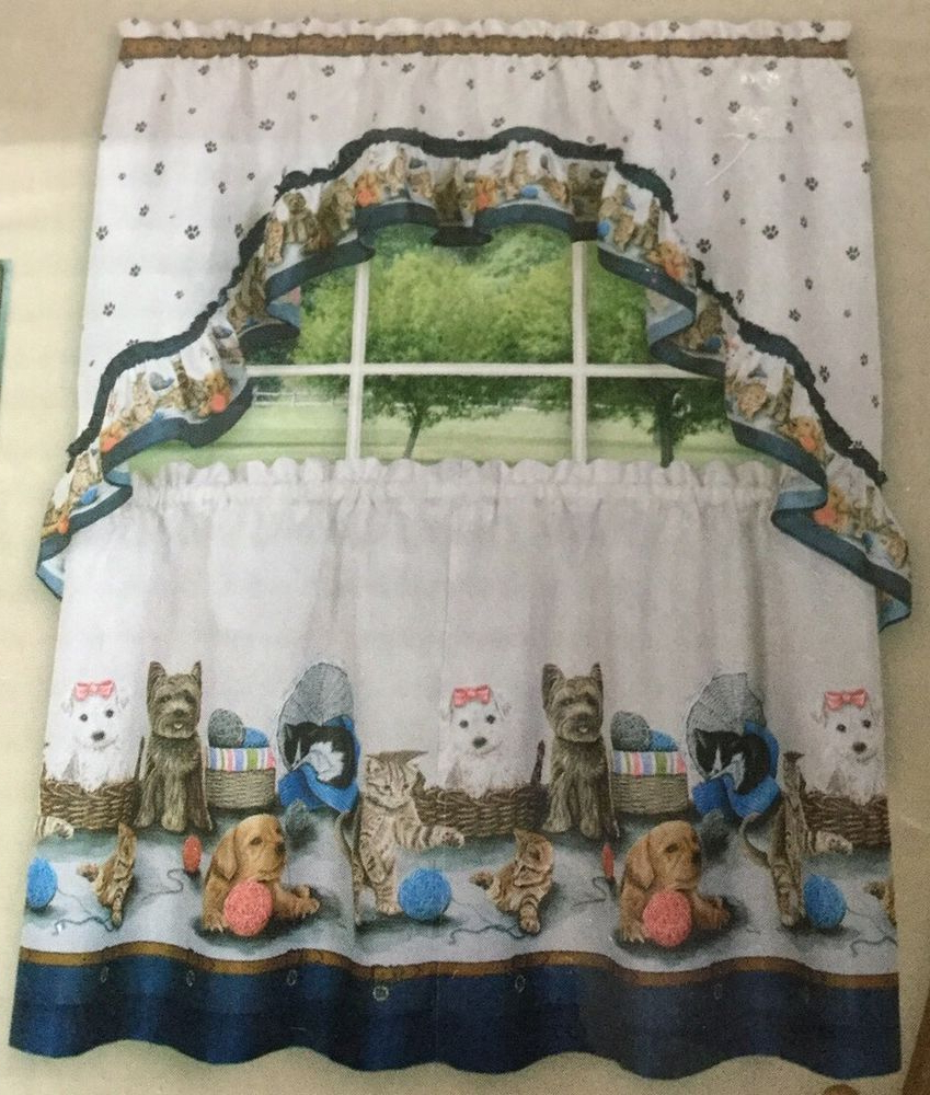 2021 Precious Puppy Dog Print Kitchen Window Tier Swag Curtain Pertaining To Kitchen Window Tier Sets (View 1 of 20)