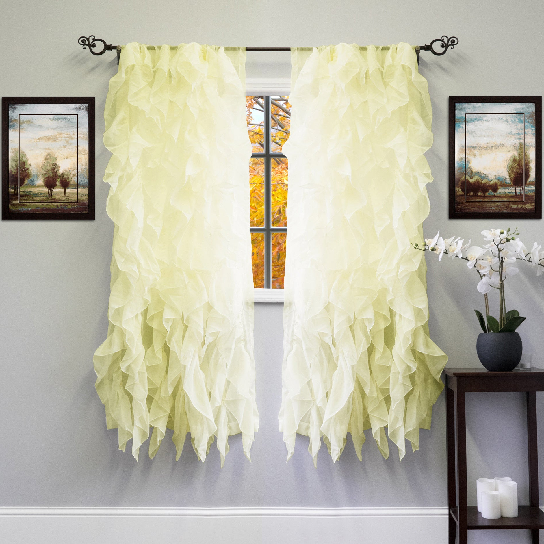 2021 Silver Vertical Ruffled Waterfall Valance And Curtain Tiers Pertaining To Voile 50 X 63 Vertical Ruffle Tier Window Curtain Panel – 50 X (View 15 of 20)