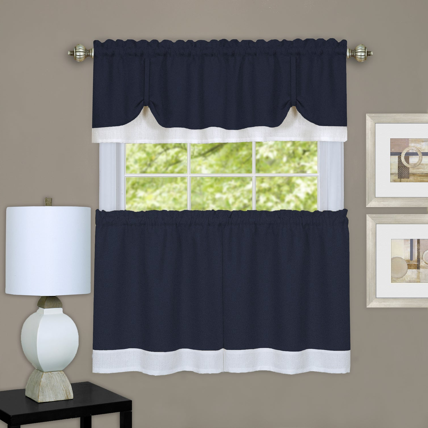 2021 Solid Microfiber 3 Piece Kitchen Curtain Valance And Tiers Sets For Achim Darcy Window Curtain Tier And Valance Set (View 16 of 20)