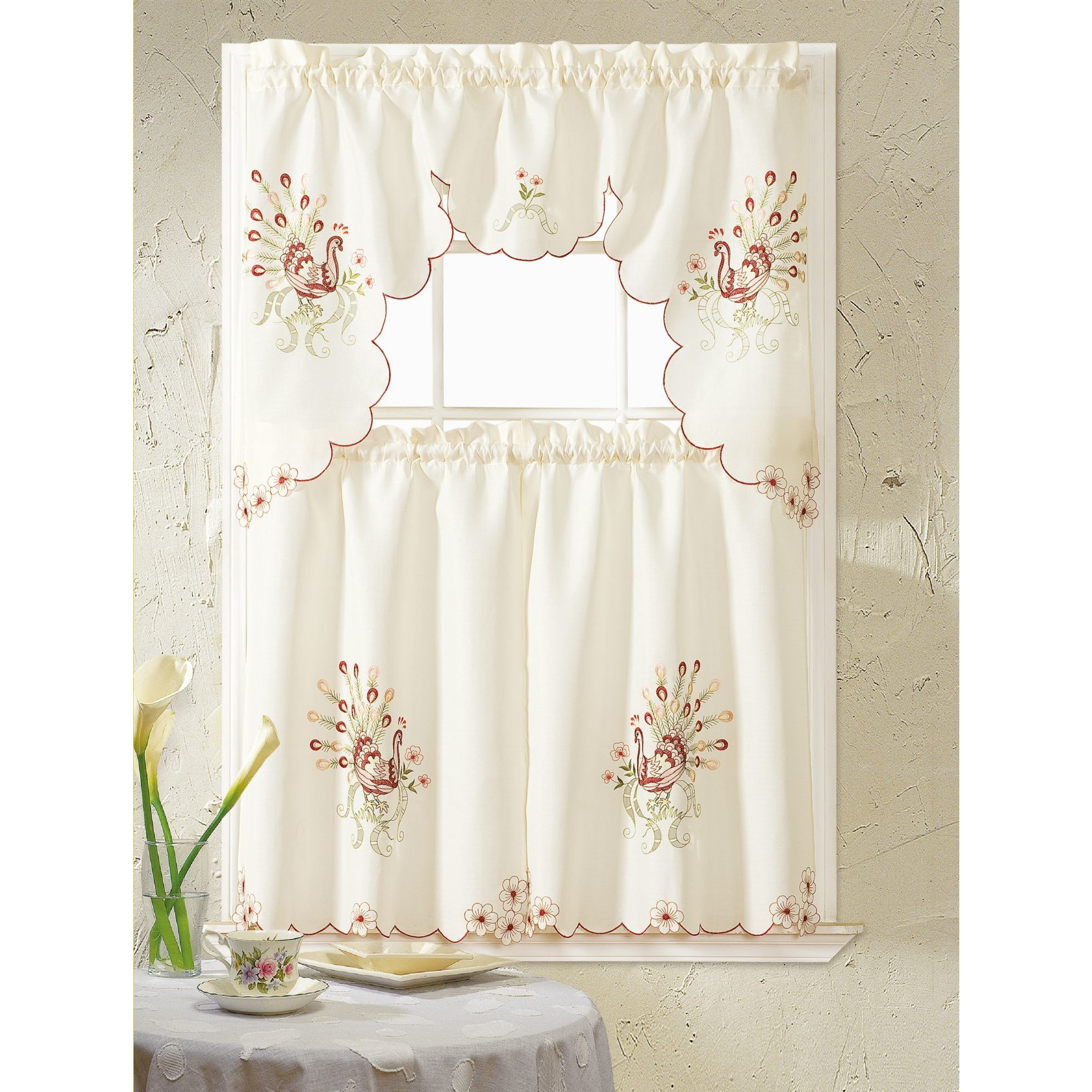 2021 Spring Daisy Tiered Curtain 3 Piece Sets Throughout Rt Designers Collection Peacock Embroidered Tiers And Valance Kitchen  Curtain Set (View 1 of 20)