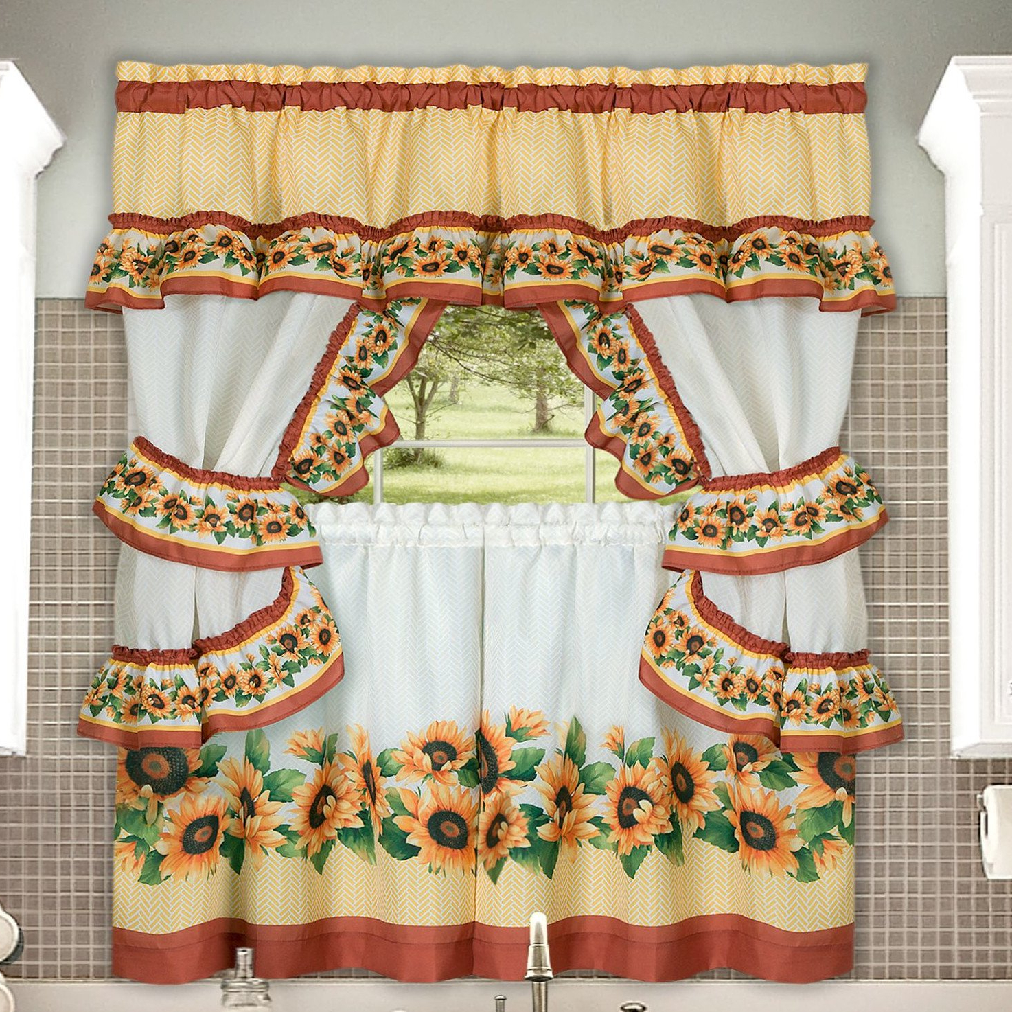 2021 Sunflower Cottage Kitchen Curtain Tier And Valance Sets Inside Amazon: Chevron Sunflower Complete Kitchen Curtain Tier (View 4 of 20)