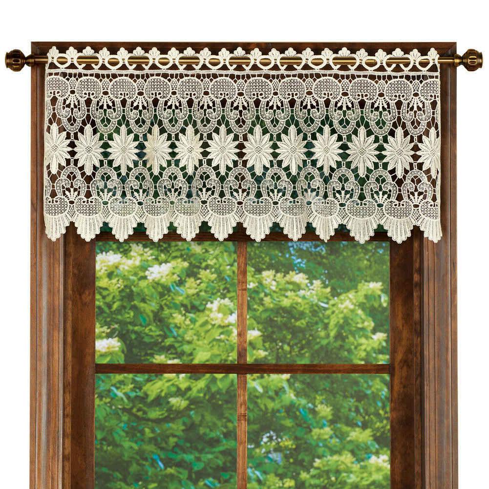 2021 Tailored Toppers With Valances Intended For Macrame Curtain Scalloped Valance Window Topper For Bathroom, Bedroom, Kitchen (View 15 of 20)