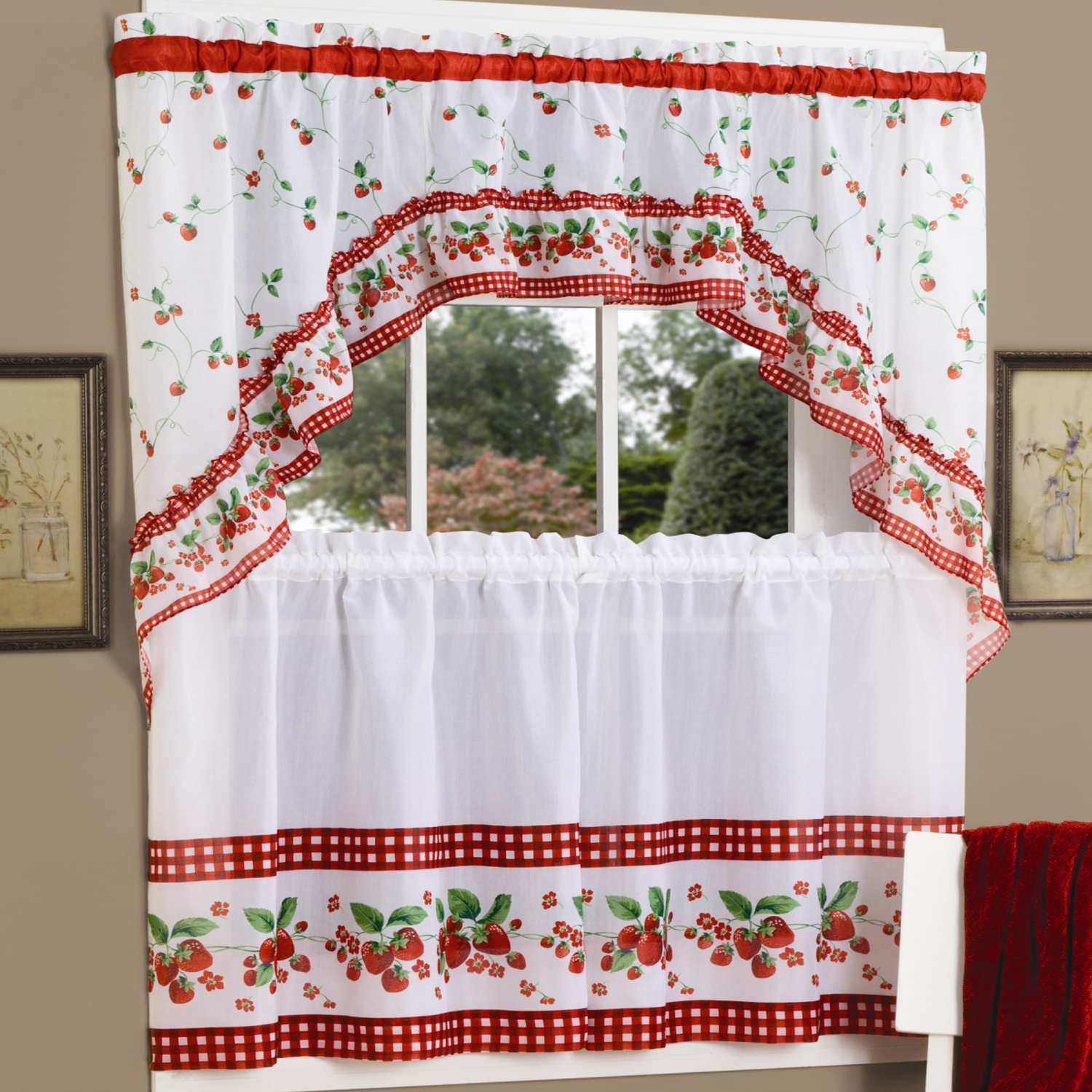 2021 Traditional Tailored Tier And Swag Window Curtains Sets With Ornate Flower Garden Print Within Traditional Two Piece Tailored Tier And Swag Window Curtains (View 4 of 20)
