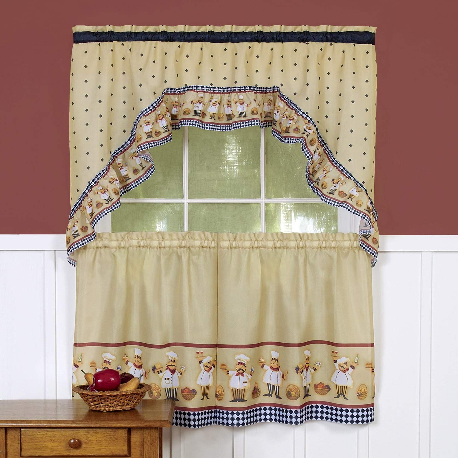 2021 Traditional Two Piece Tailored Tier And Valance Window Curtains Pertaining To Bed Bath N More Traditional Two Piece Tailored Tier And Swag Window Curtains Set With Happy Chef Print – 36 Inch (View 2 of 20)