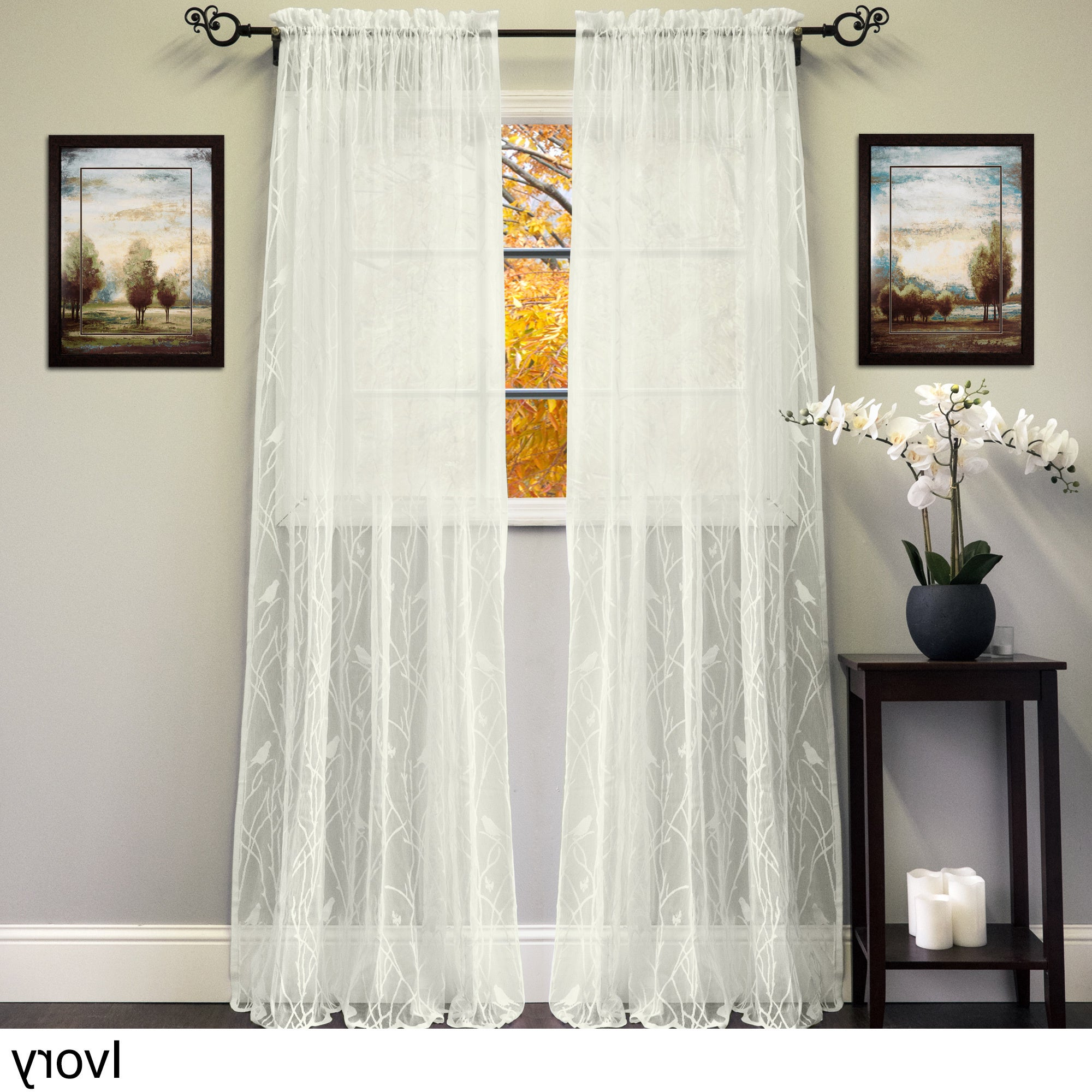 2021 White/ivory 56 Inch X 84 Inch Knit Lace Bird Motif Window Curtain Panel – 56 X 84 With Ivory Knit Lace Bird Motif Window Curtain (View 3 of 20)