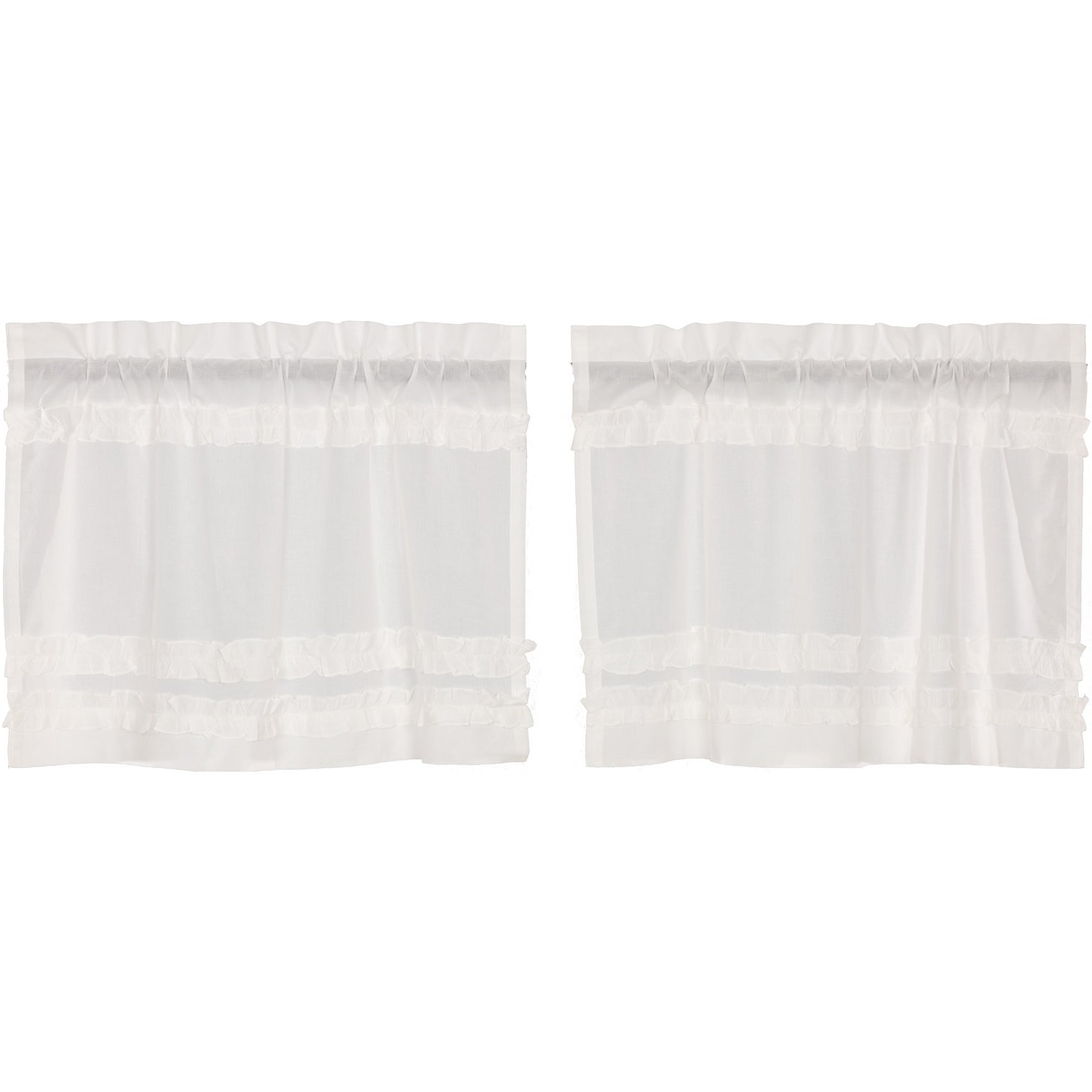 2021 White Ruffled Sheer Petticoat Tier Pairs Pertaining To White Farmhouse Kitchen Curtains Vhc White Ruffled Sheer Petticoat Tier Pair Rod Pocket Cotton Solid Color Ruched Ruffle (View 2 of 20)