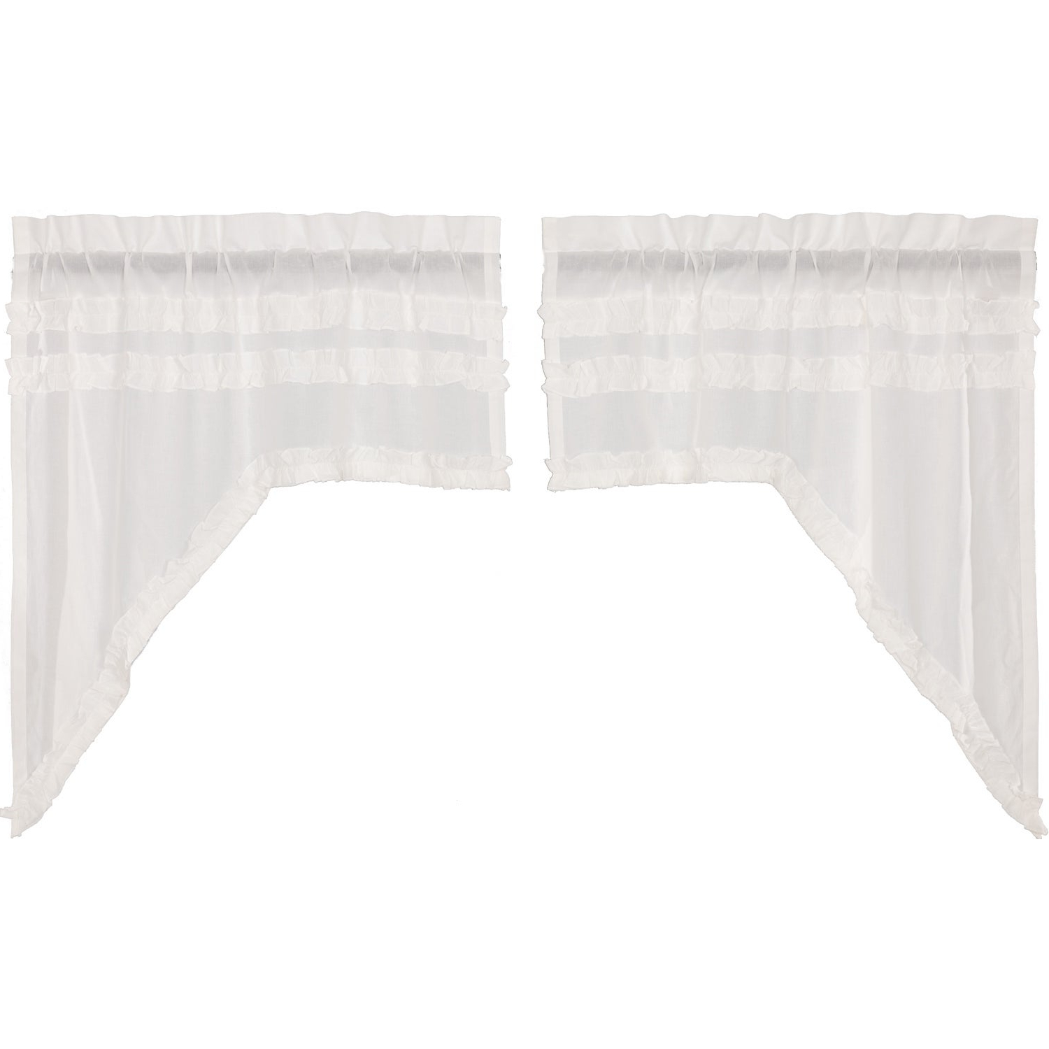 2021 White Ruffled Sheer Petticoat Tier Pairs With White Farmhouse Kitchen Curtains Vhc White Ruffled Sheer Petticoat Swag Pair Rod Pocket Cotton Solid Color Ruched Ruffle (View 3 of 20)