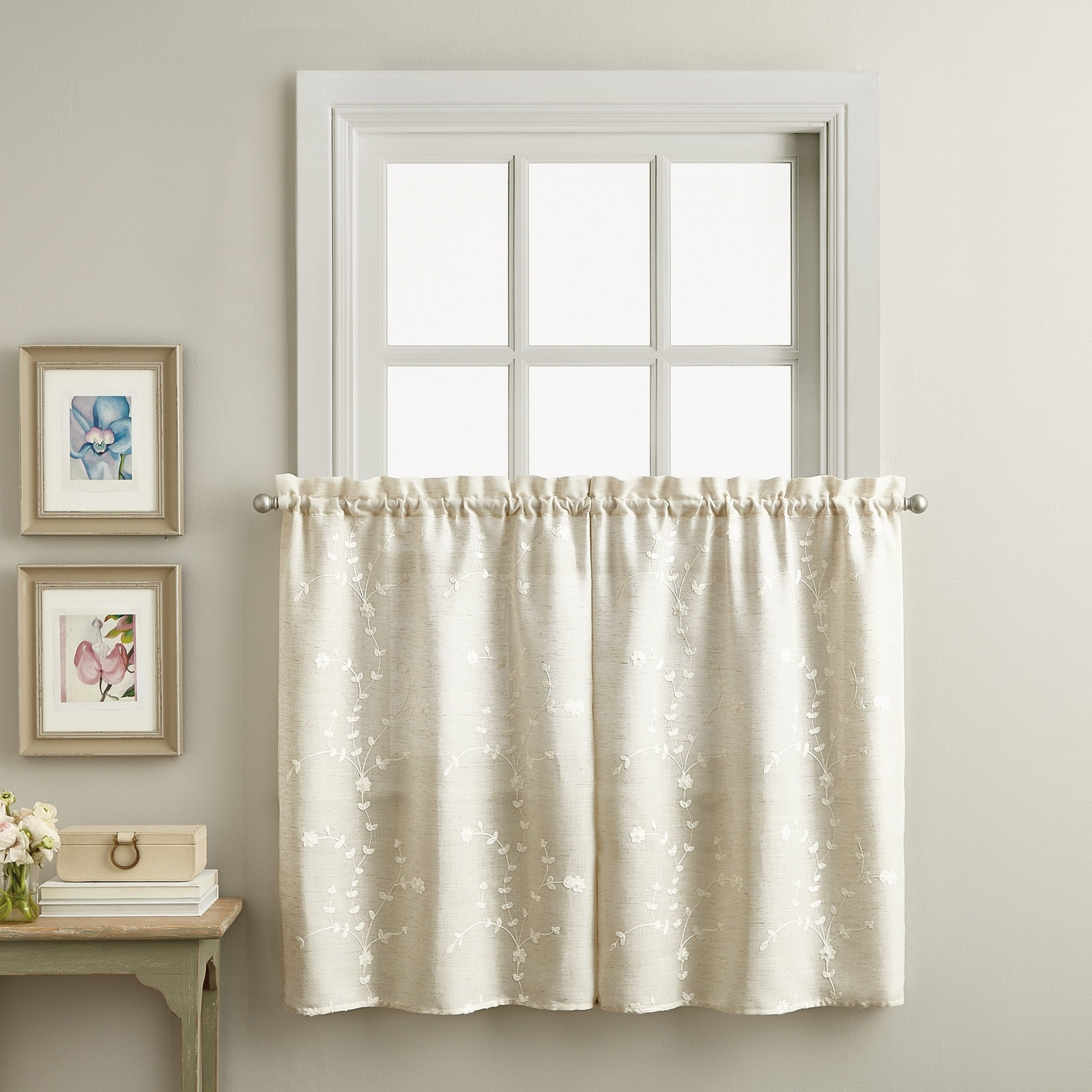 2021 White Tone On Tone Raised Microcheck Semisheer Window Curtain Pieces In Lynette Tailored Tier Set And Valance Curtain Collection (View 16 of 20)