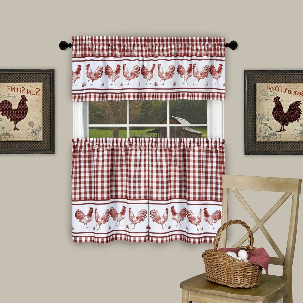3 Piece Barnyard Buffalo Check Rooster Tier And Valance Intended For Most Current Barnyard Buffalo Check Rooster Window Valances (View 3 of 20)