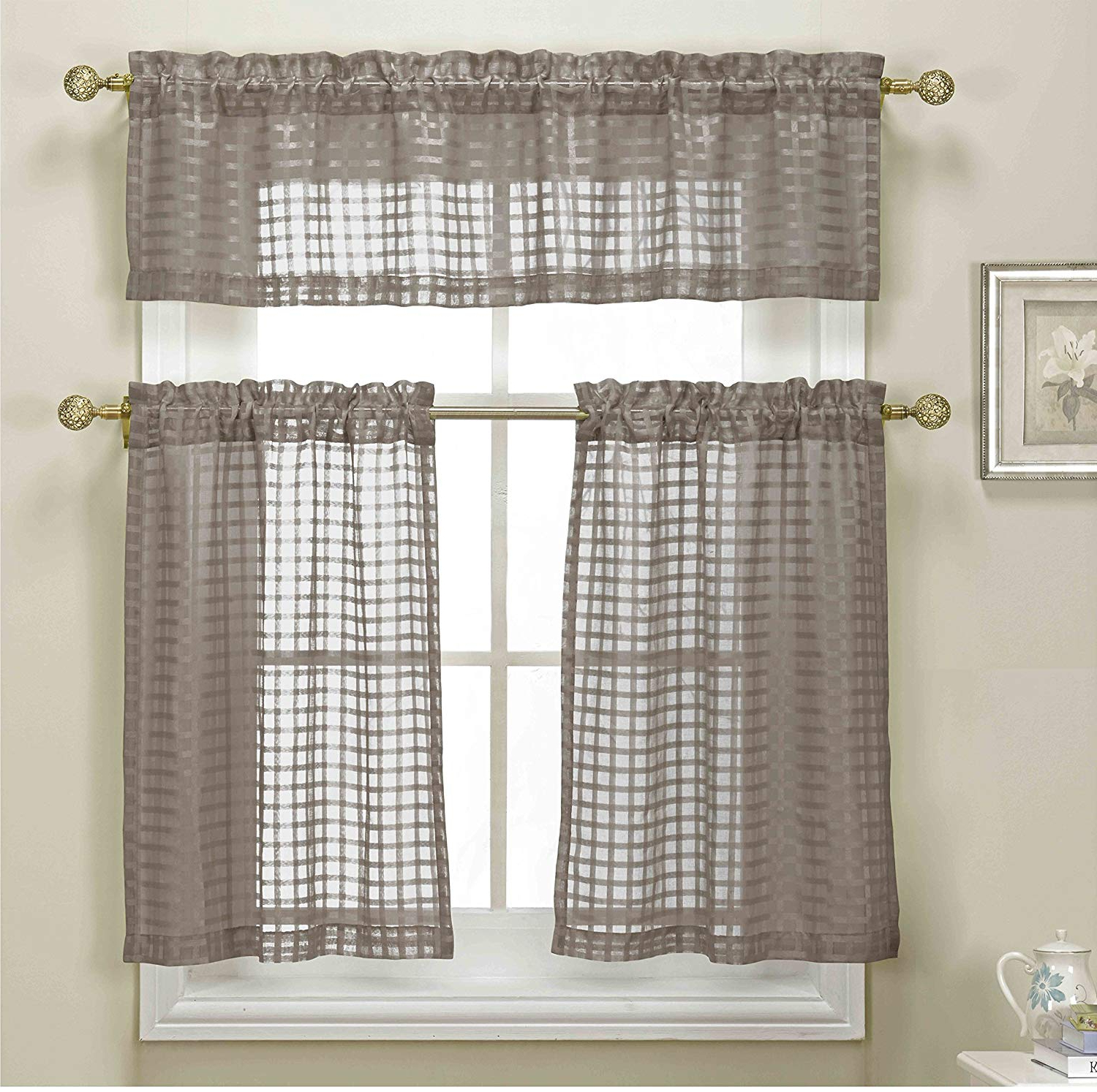 3 Piece Chocolate Brown Sheer Kitchen Curtain Set: Woven Check Design, 1 Valance, 2 Tier Panels (chocolate Brown) Throughout Most Recently Released Tree Branch Valance And Tiers Sets (View 7 of 20)