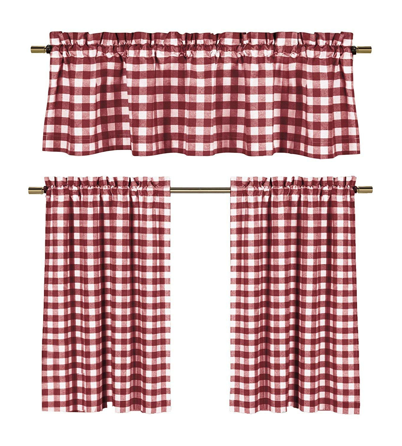 3 Piece Cotton Rich Small Kitchen Window Set: Gingham Check Design, One  Valance, Two Tiers 24 In Long (Burgundy And White) For Favorite Kitchen Burgundy/white Curtain Sets (Gallery 14 of 20)