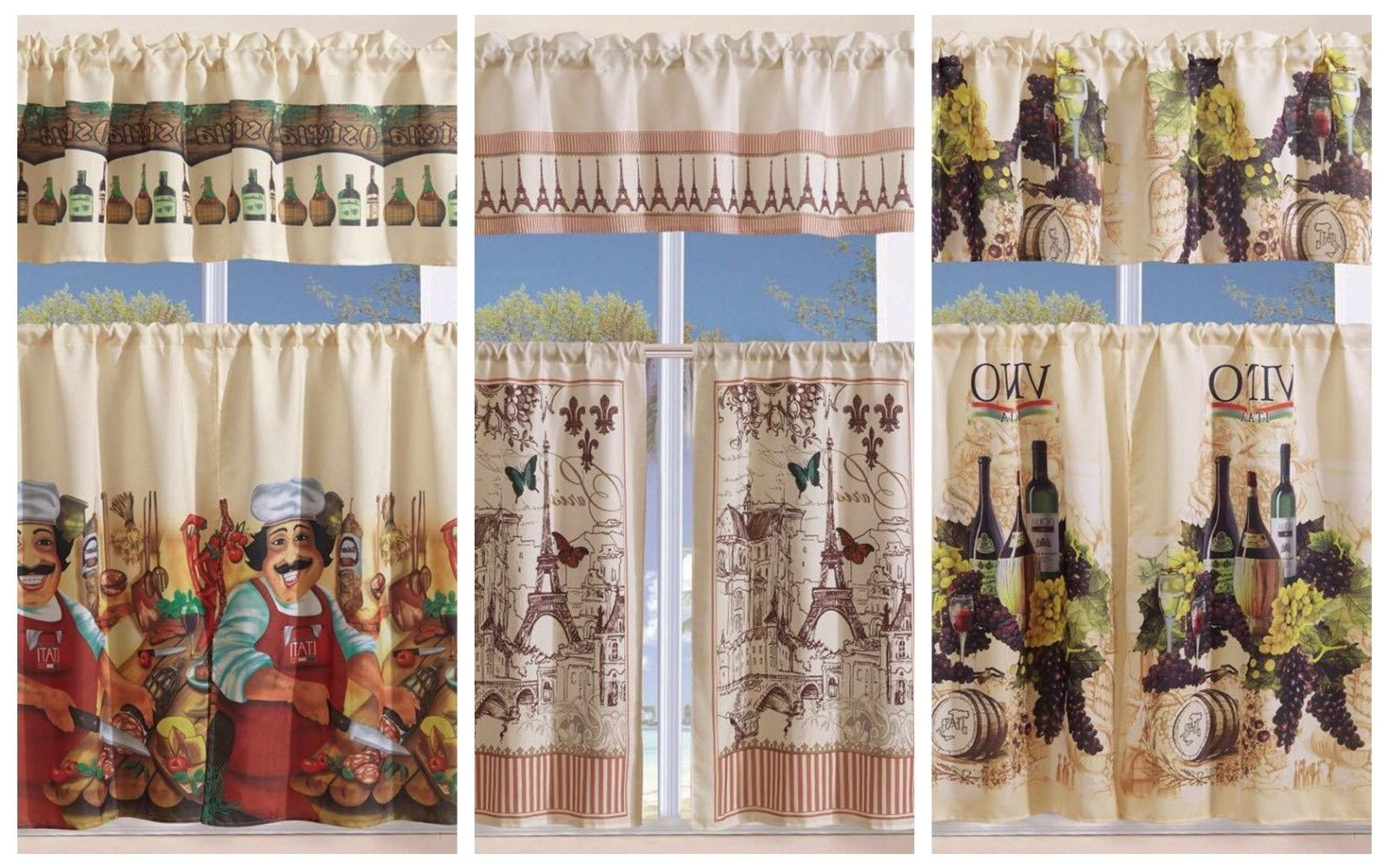 Featured Photo of Grace Cinnabar 5 Piece Curtain Tier And Swag Sets