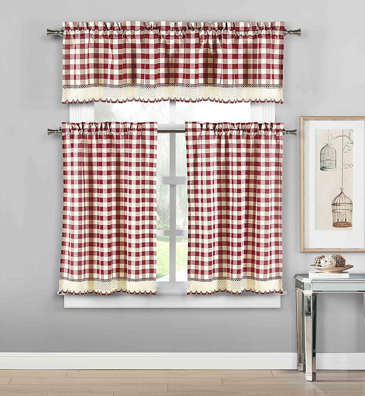 [%3 Piece Plaid, Checkered, Gingham Kitchen Curtain Set: 35% Cotton, 1 Valance, 2 Tier Panels, With Crochet Accent (garnet) Within Popular Classic Navy Cotton Blend Buffalo Check Kitchen Curtain Sets|classic Navy Cotton Blend Buffalo Check Kitchen Curtain Sets Throughout Recent 3 Piece Plaid, Checkered, Gingham Kitchen Curtain Set: 35% Cotton, 1 Valance, 2 Tier Panels, With Crochet Accent (garnet)|latest Classic Navy Cotton Blend Buffalo Check Kitchen Curtain Sets Intended For 3 Piece Plaid, Checkered, Gingham Kitchen Curtain Set: 35% Cotton, 1 Valance, 2 Tier Panels, With Crochet Accent (garnet)|widely Used 3 Piece Plaid, Checkered, Gingham Kitchen Curtain Set: 35% Cotton, 1 Valance, 2 Tier Panels, With Crochet Accent (garnet) Inside Classic Navy Cotton Blend Buffalo Check Kitchen Curtain Sets%] (View 12 of 20)