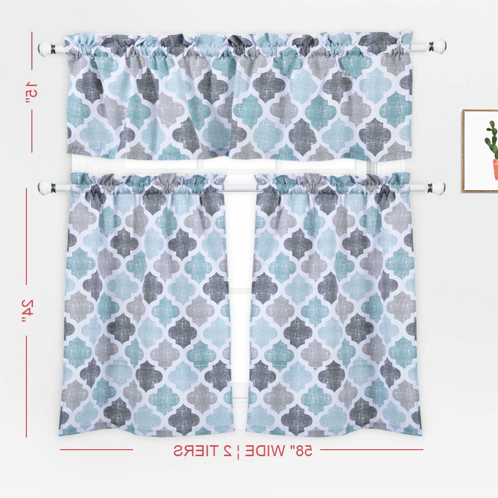 3 Pieces Kitchen Curtains Set, Trellis Pattern Cotton Blend Within Preferred Cotton Blend Grey Kitchen Curtain Tiers (View 2 of 20)