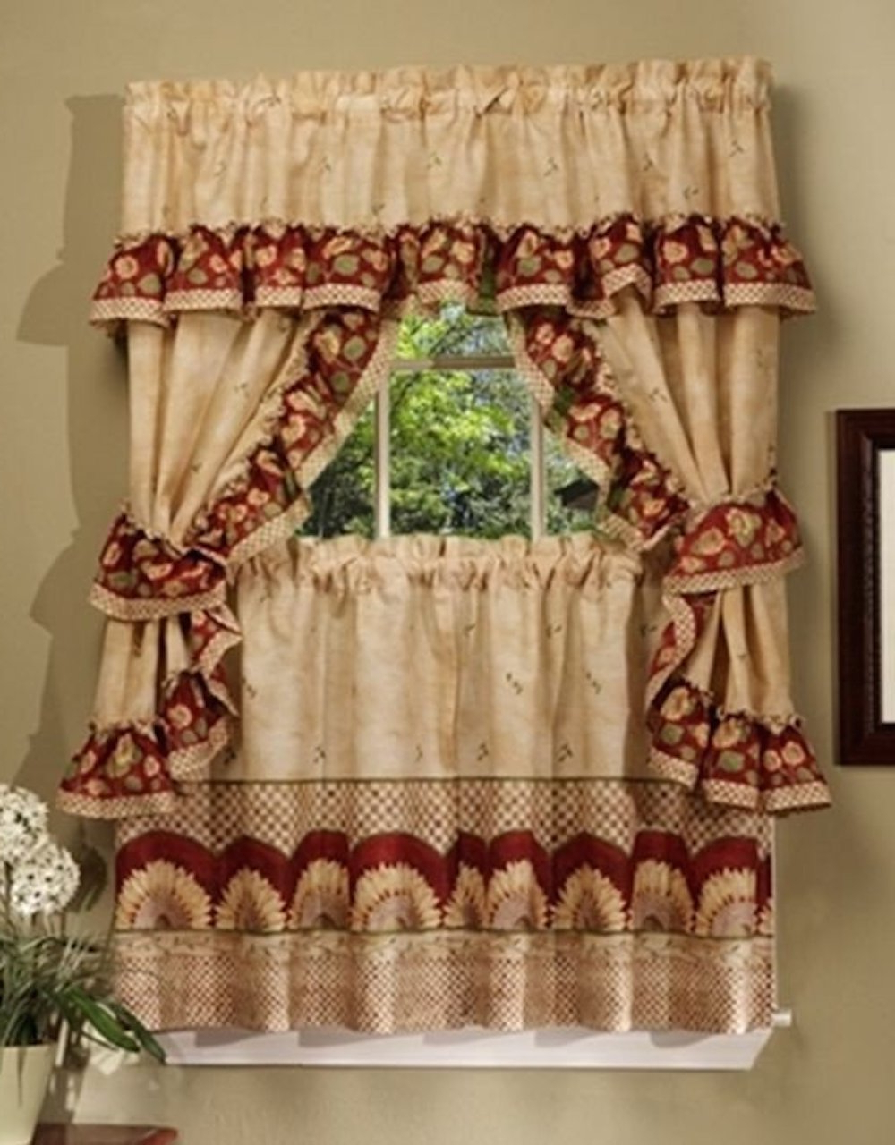 57W X 24L Achim Tiers, Swags & Valances Sunflower Printed Inside 2021 Multicolored Printed Curtain Tier And Swag Sets (View 1 of 20)