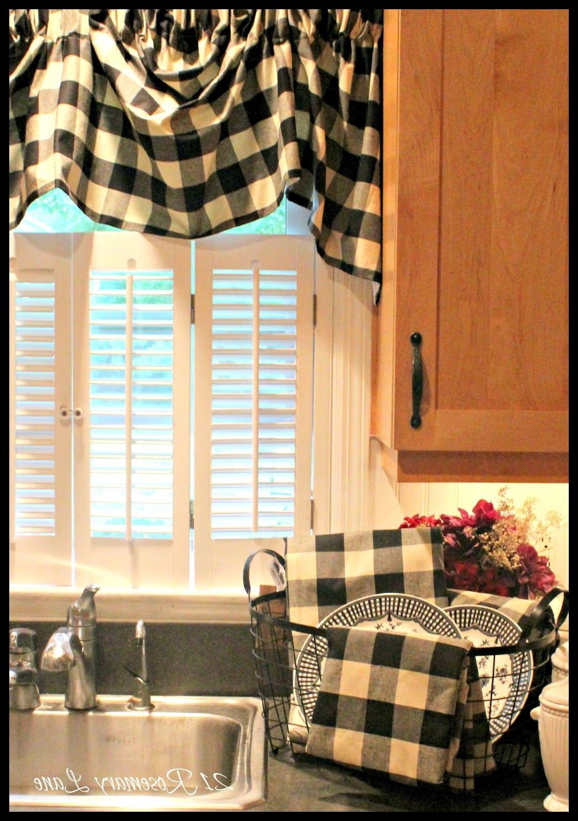 A Few New Items For My Kitchen ~ Black And White Buffalo Inside Widely Used Red Primitive Kitchen Curtains (View 1 of 20)