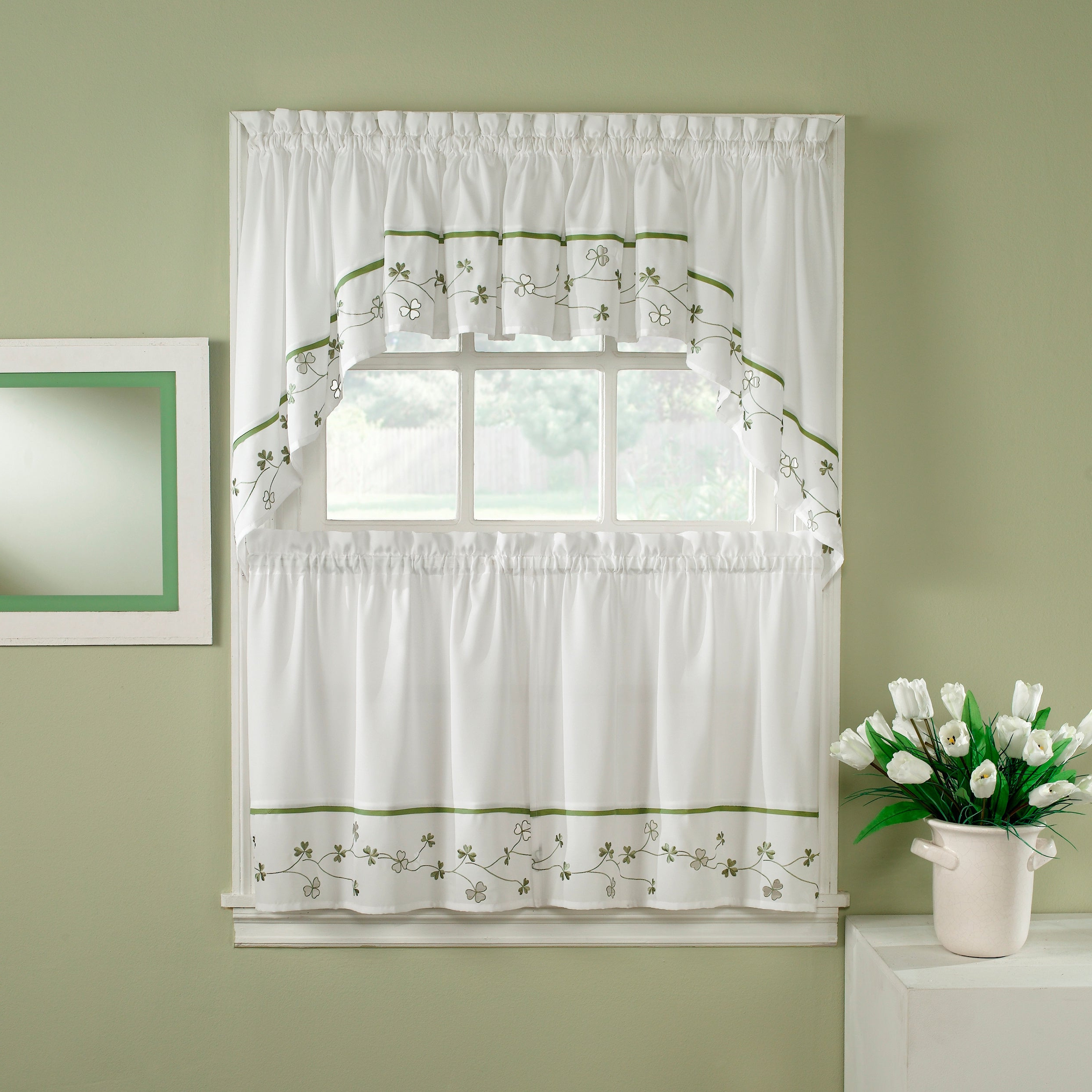 Abby Embroidered 5 Piece Curtain Tier And Swag Sets Intended For Well Liked Clover Green/ White 5 Piece Curtain Tier And Swag Set (View 3 of 20)