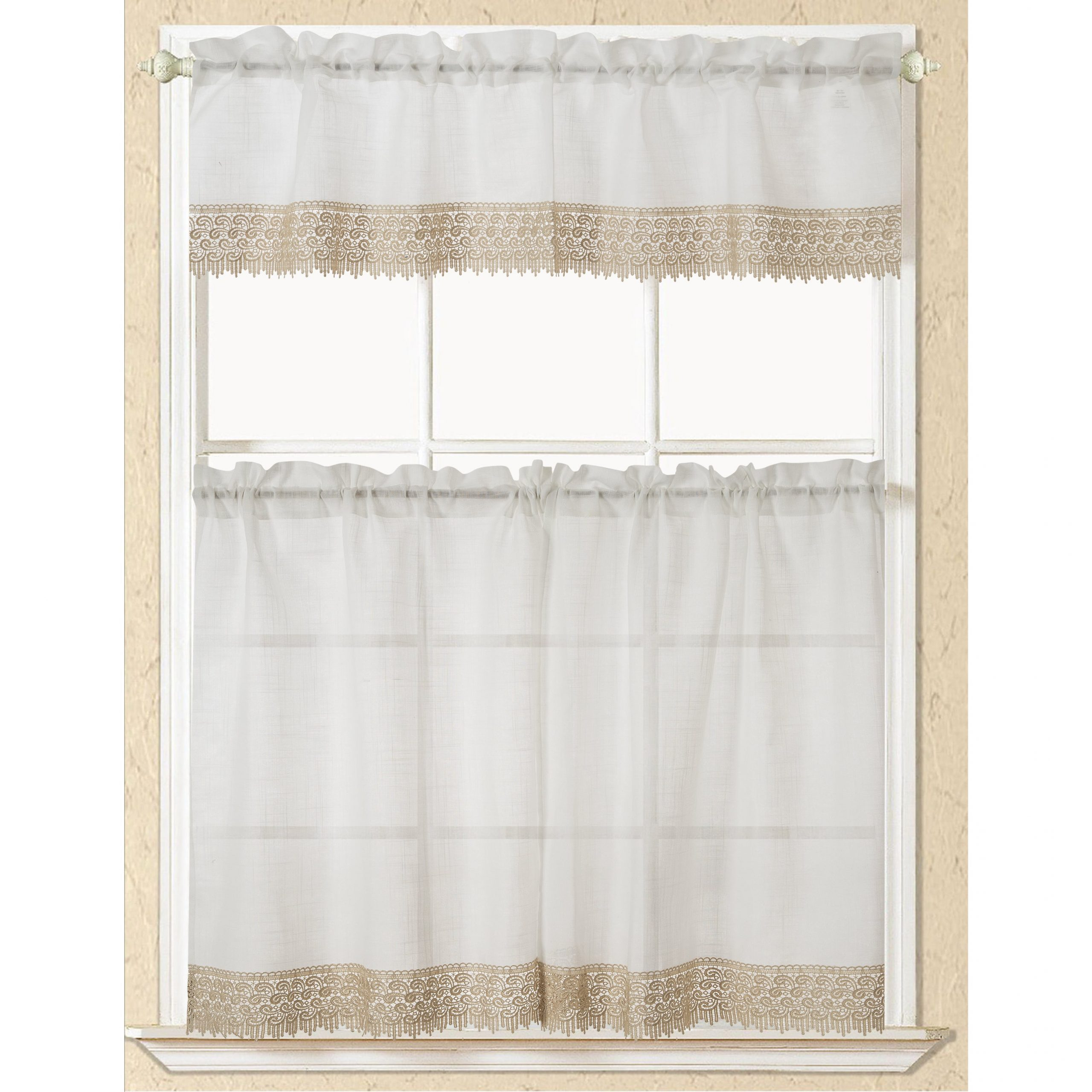 Abby Embroidered 5 Piece Curtain Tier And Swag Sets Within Recent Rt Designers Collection Evie Macrame Border Tier And Valance Kitchen Curtain Set (View 9 of 20)