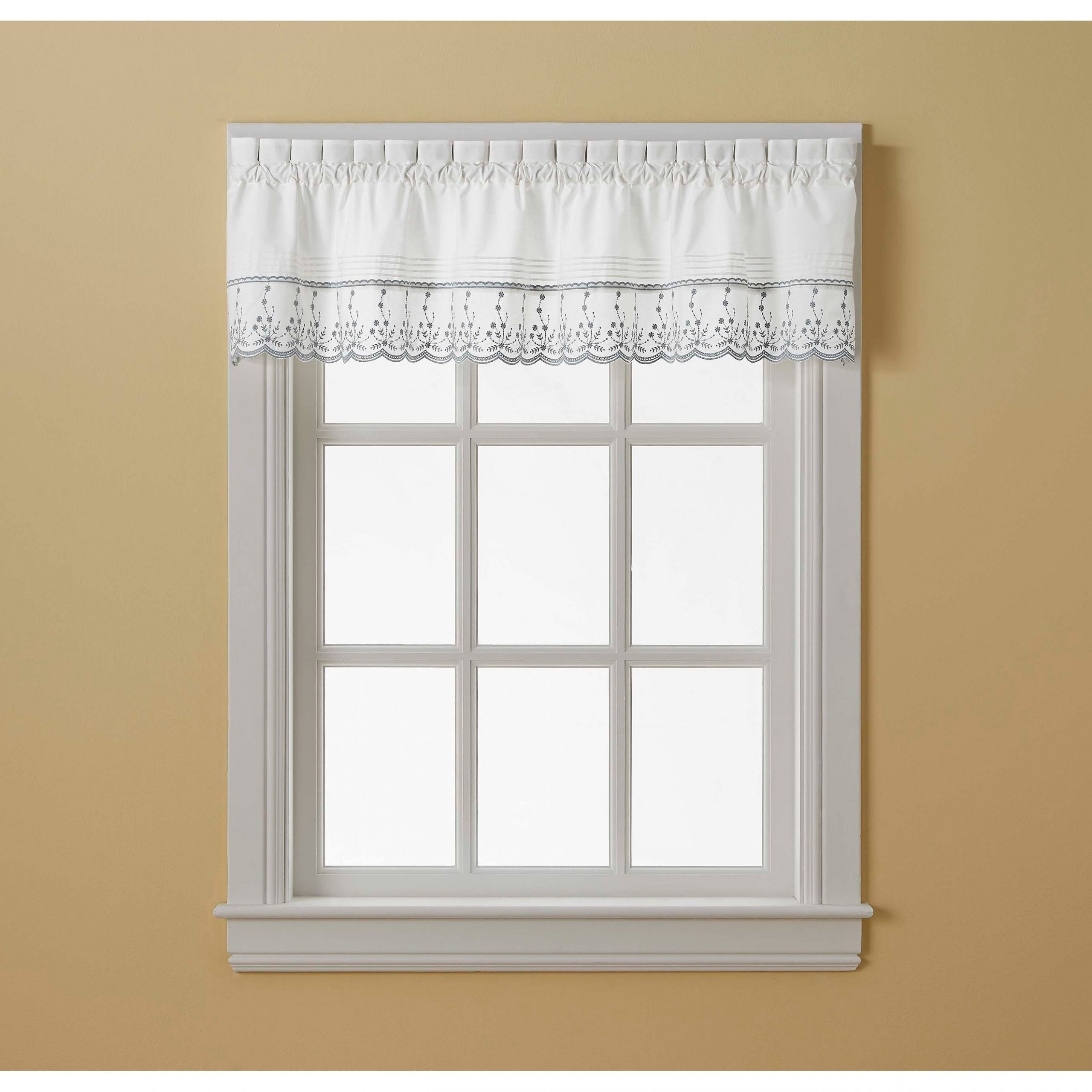 Abby Tailored Valance And Tier Curtain Collection Pertaining To Most Current Abby Embroidered 5 Piece Curtain Tier And Swag Sets (View 11 of 20)