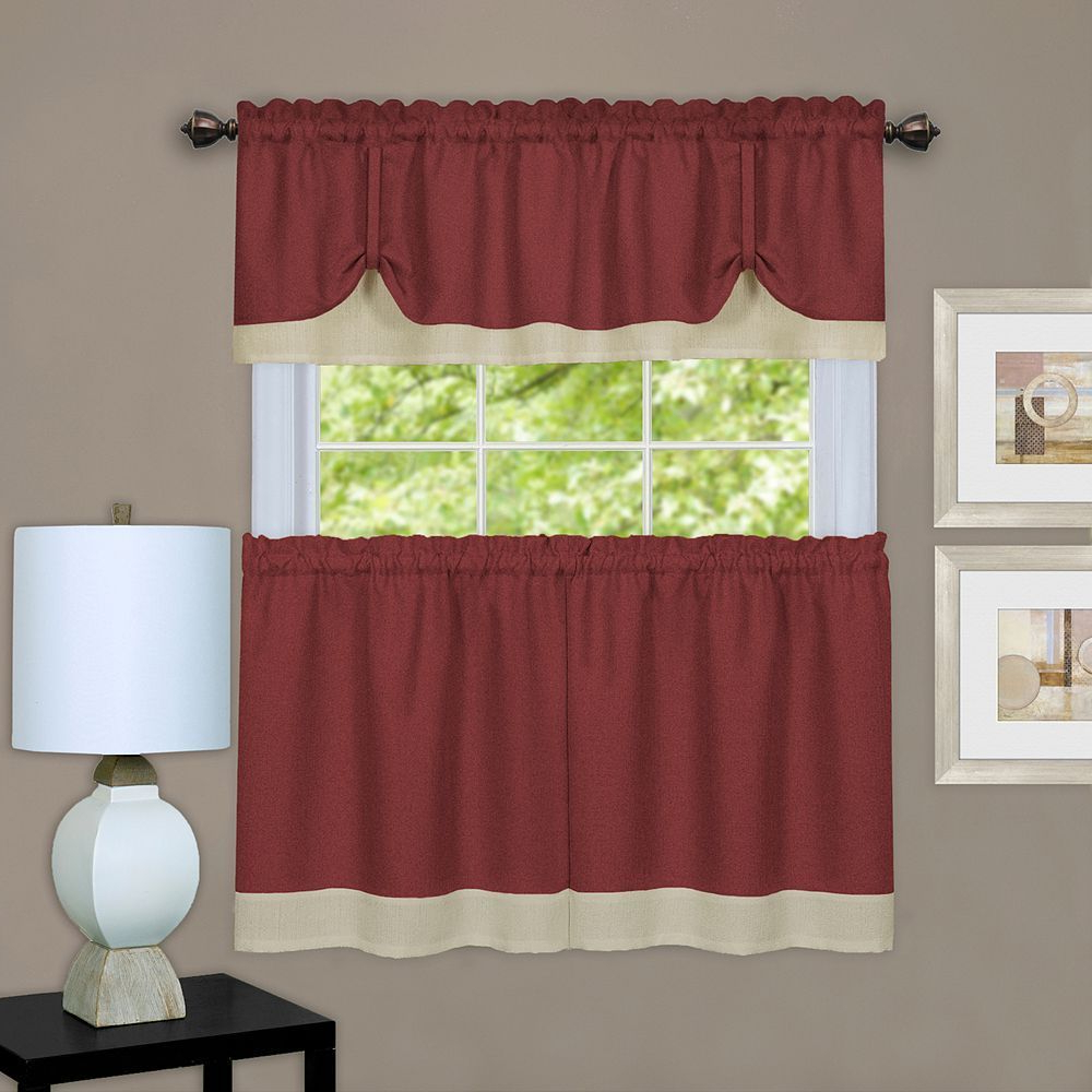 Achim 3 Piece Darcy Tier & Valance Kitchen Window Curtain For Fashionable Grace Cinnabar 5 Piece Curtain Tier And Swag Sets (View 15 of 20)