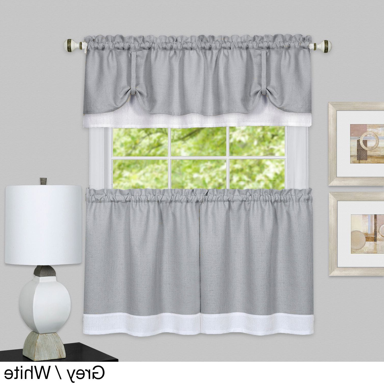 Achim Darcy Window Curtain Tier And Valance Set (Marsala/tan Regarding Recent Solid Microfiber 3 Piece Kitchen Curtain Valance And Tiers Sets (View 15 of 20)