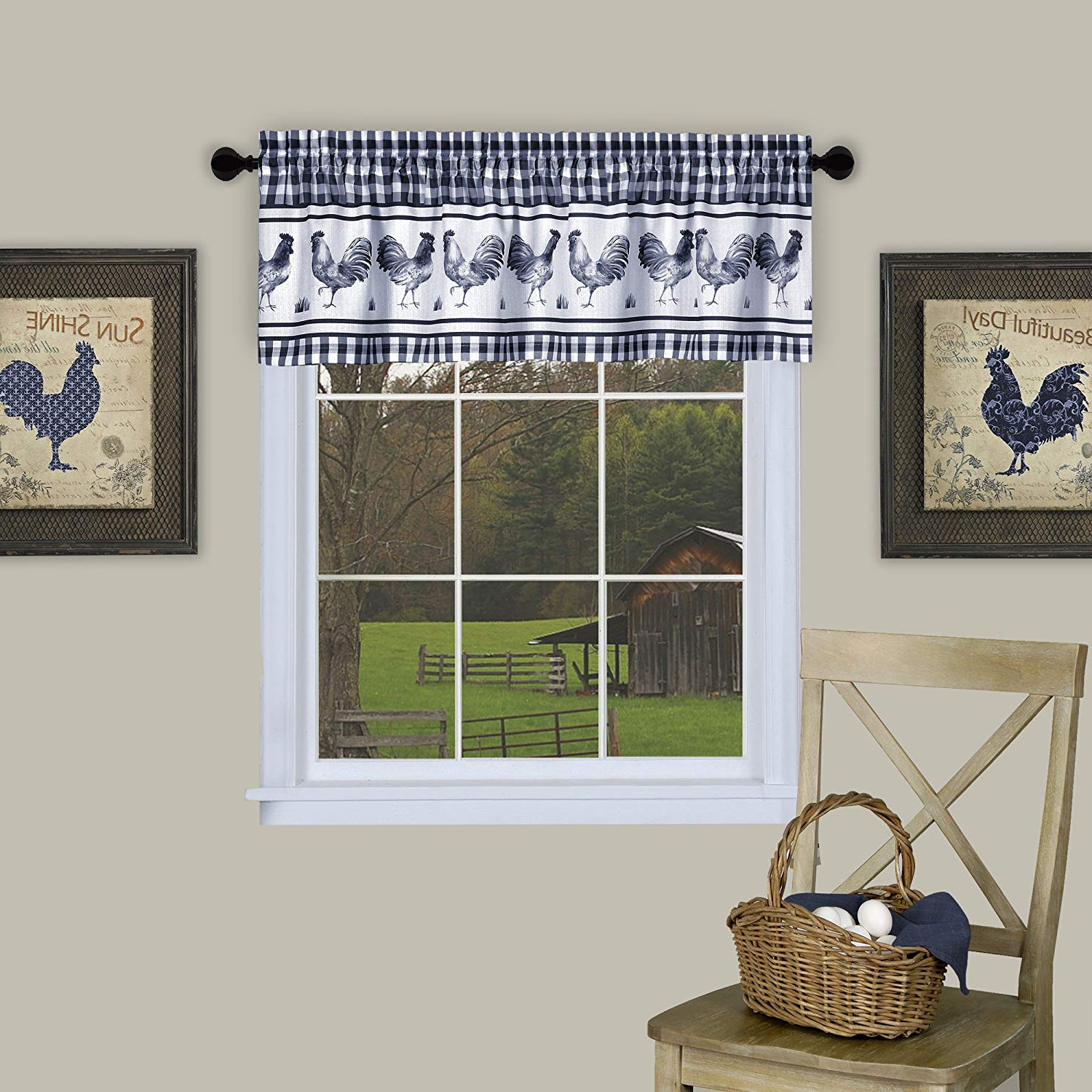 """Achim Home Furnishings Barnyard Window Curtain Tier Pair And Valance Set, 58"""" X 24"""", Taupe Throughout Well Known Barnyard Window Curtain Tier Pair And Valance Sets (View 3 of 20)"""