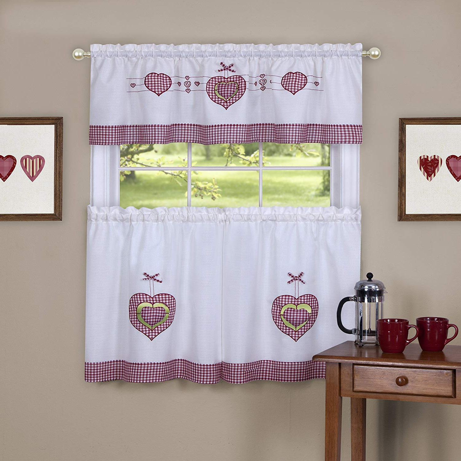 "Achim Home Furnishings Gingham Hearts Embellished Tier And Valance Window Curtain Set, 56"" X 24"", Multi Intended For Preferred Window Curtain Tier And Valance Sets (View 14 of 20)"