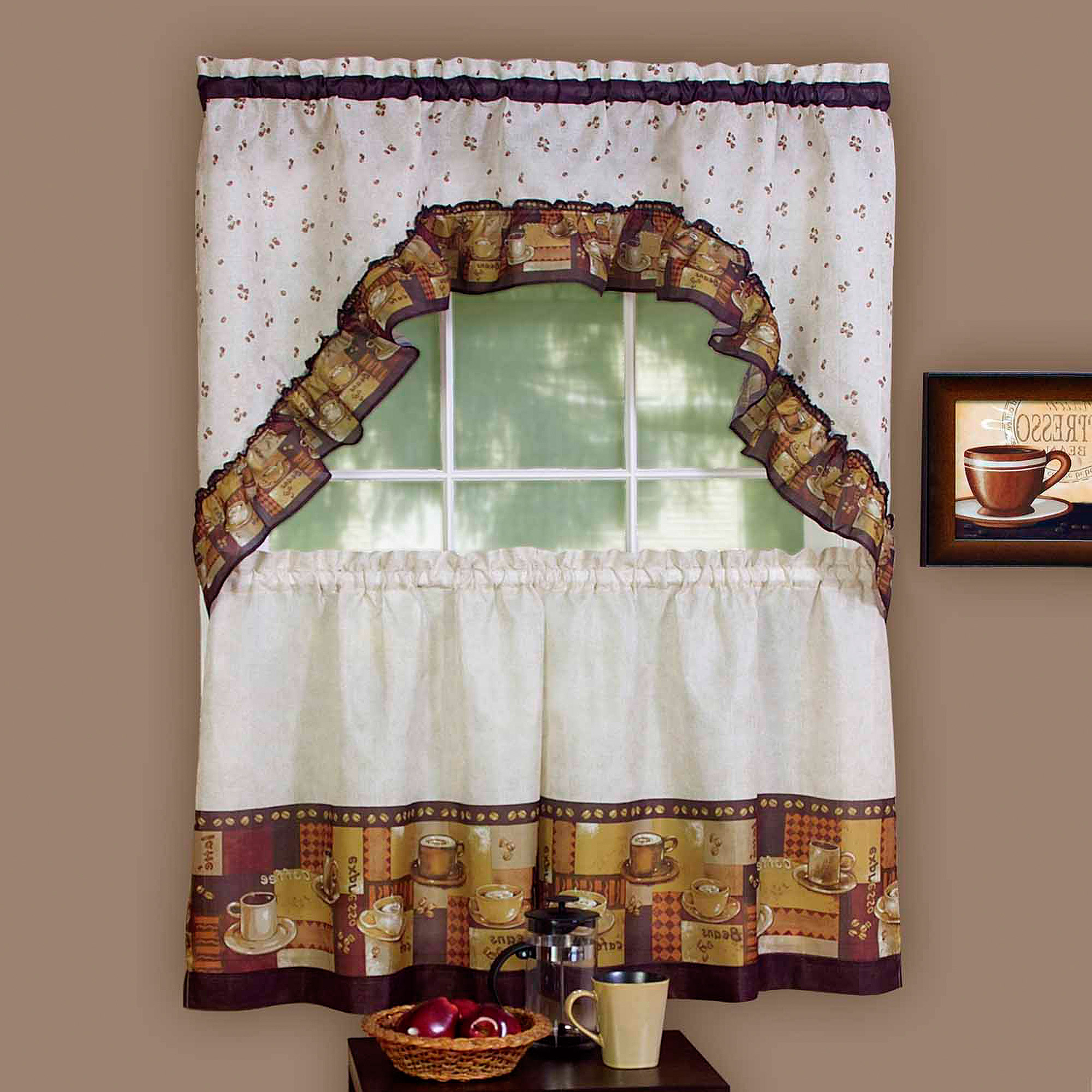 Achim Kitchen Curtain And Swag Set, Coffee – Walmart In Favorite Coffee Drinks Embroidered Window Valances And Tiers (View 2 of 20)