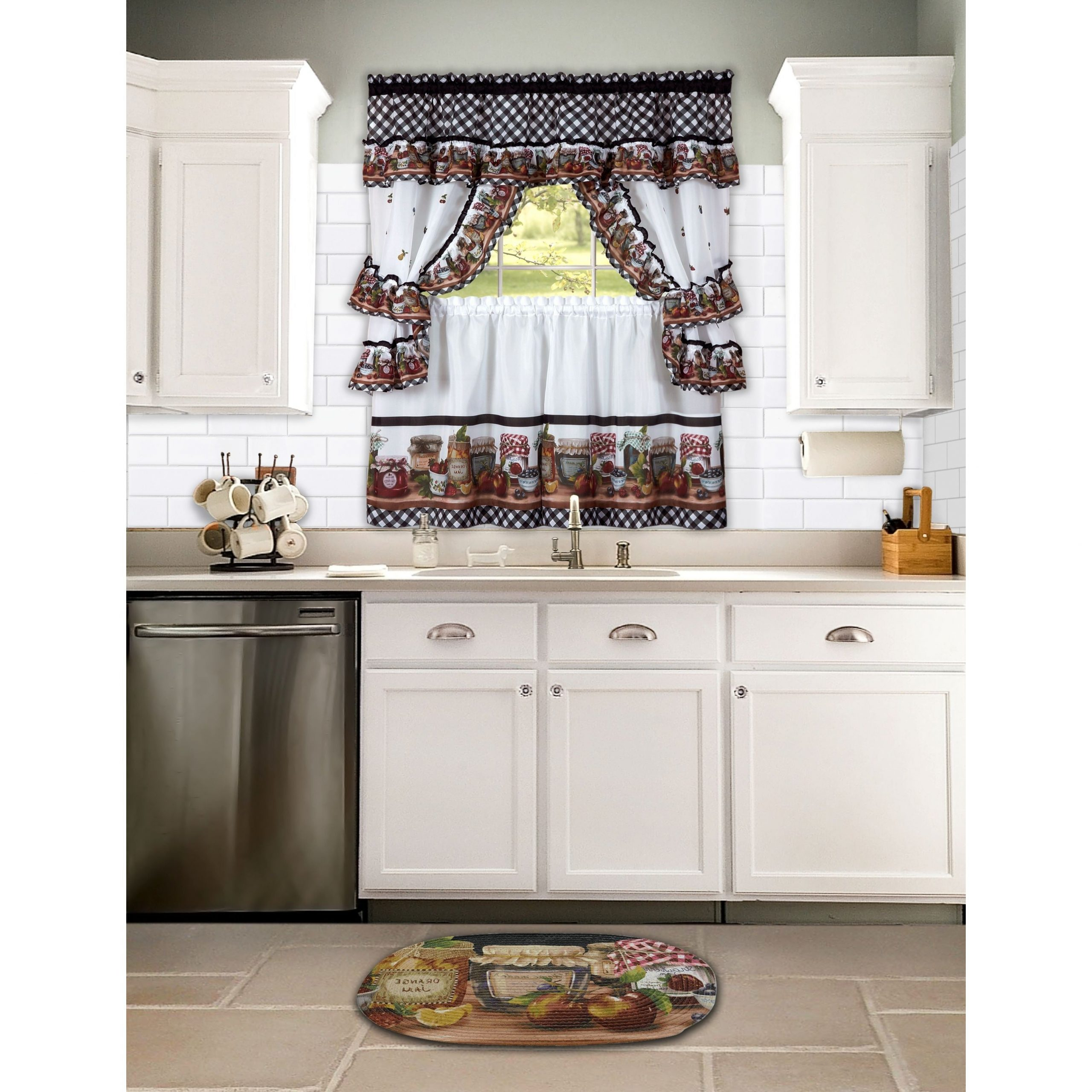 Achim Mason Jars Tailored Topper With Valance In Trendy Tailored Toppers With Valances (View 12 of 20)