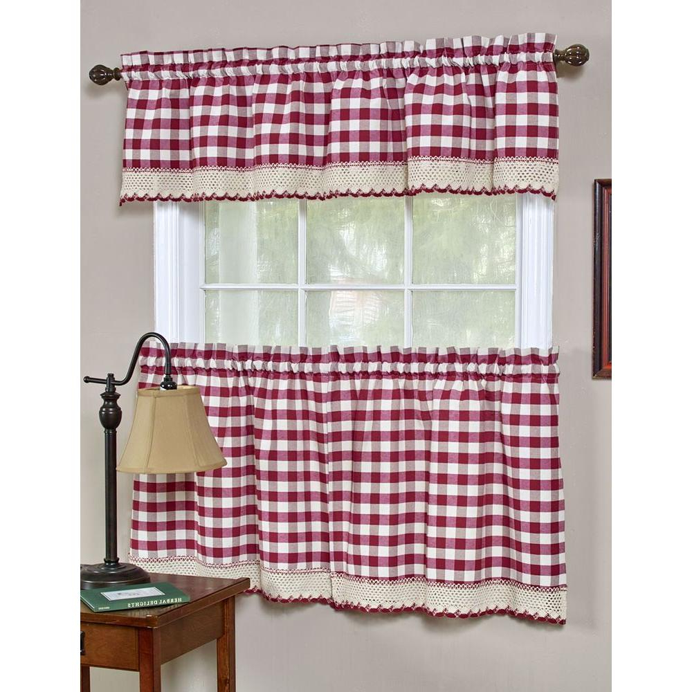Achim Semi Opaque Buffalo Check Chocolate Rod Pocket Tier Pertaining To Preferred Barnyard Buffalo Check Rooster Window Valances (View 19 of 20)