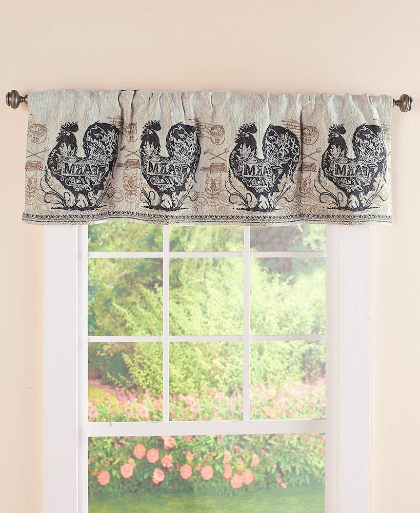 Agrarian French Country Rooster Tapestry Valance Rooster Farmhouse Valance Within Best And Newest Barnyard Buffalo Check Rooster Window Valances (View 20 of 20)