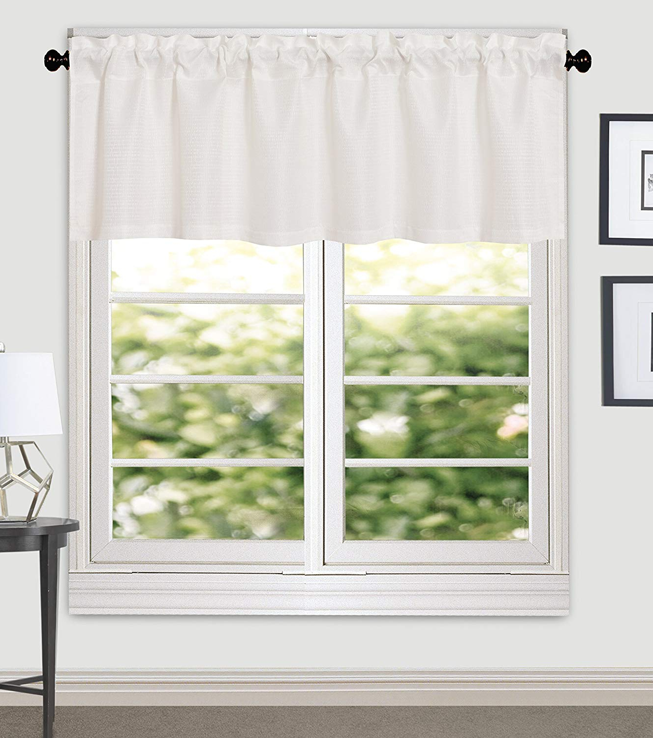 Aiking Home Crystal Jacquard Window Valance, 5616 Inches, Pure White Within Most Up To Date Luxury Light Filtering Straight Curtain Valances (View 1 of 20)