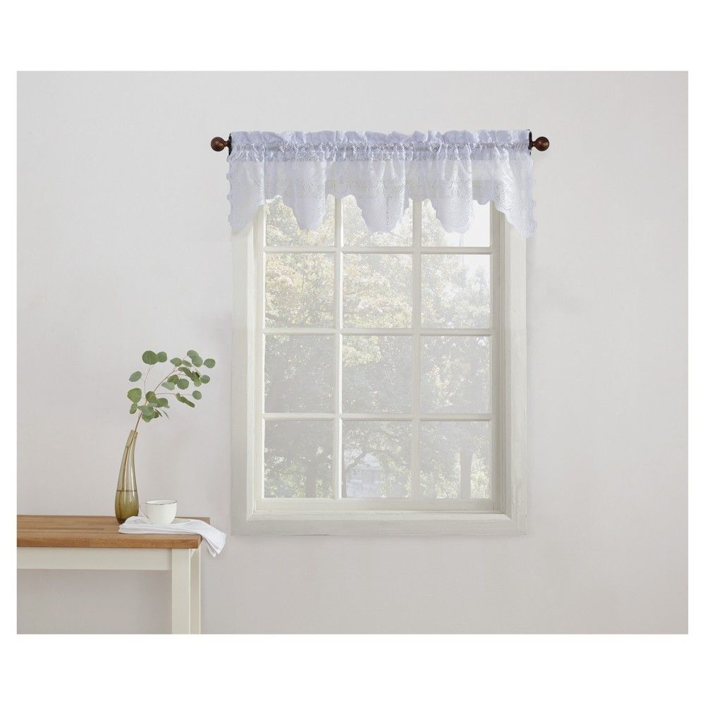 Alison Floral Sheer Lace Elongated Kitchen Curtain Tier Pair Pertaining To Widely Used Sheer Lace Elongated Kitchen Curtain Tier Pairs (View 3 of 20)