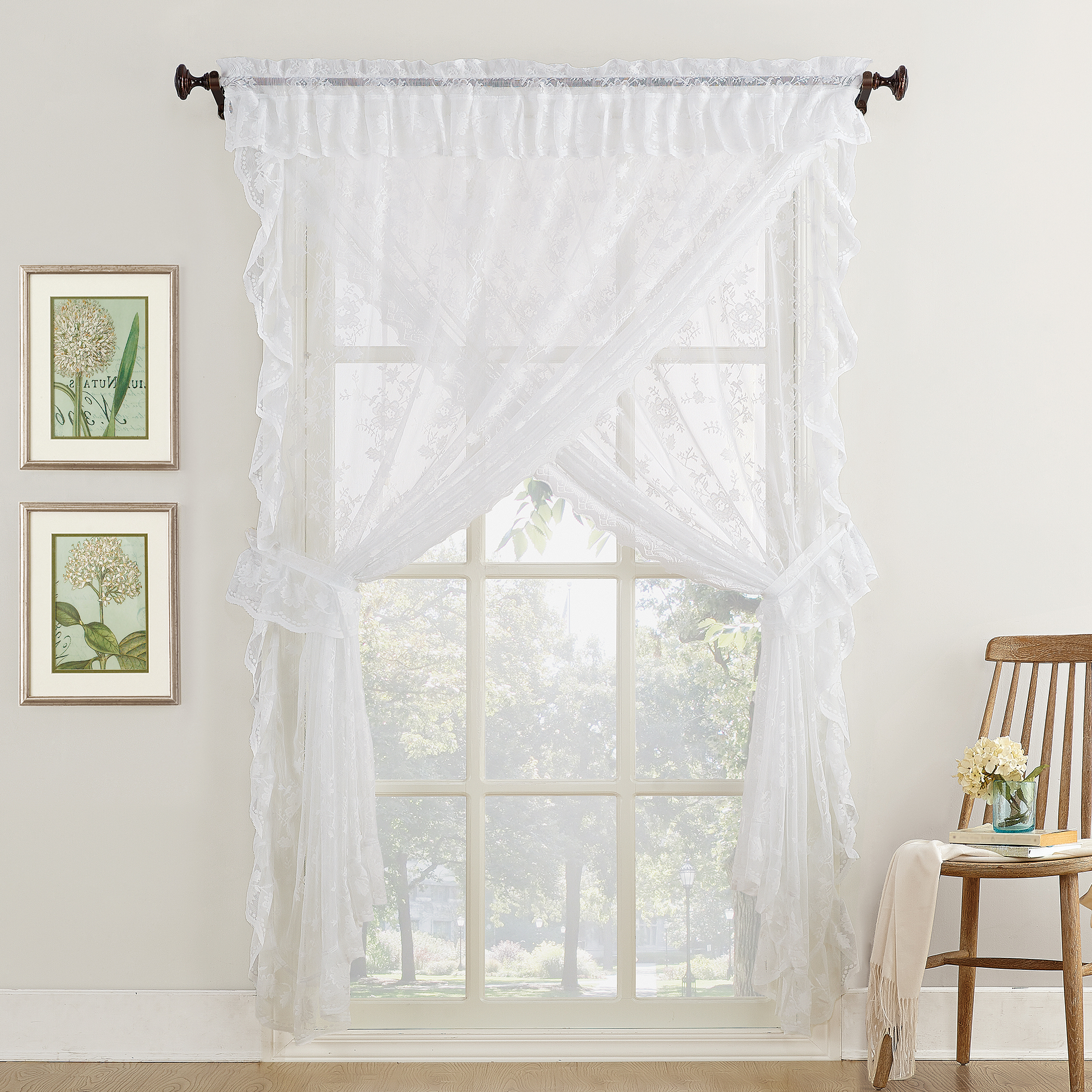 Alison Ruffled Floral Lace Sheer Priscilla 5pc Curtain Set Inside Most Popular Ivory Micro Striped Semi Sheer Window Curtain Pieces (View 19 of 20)