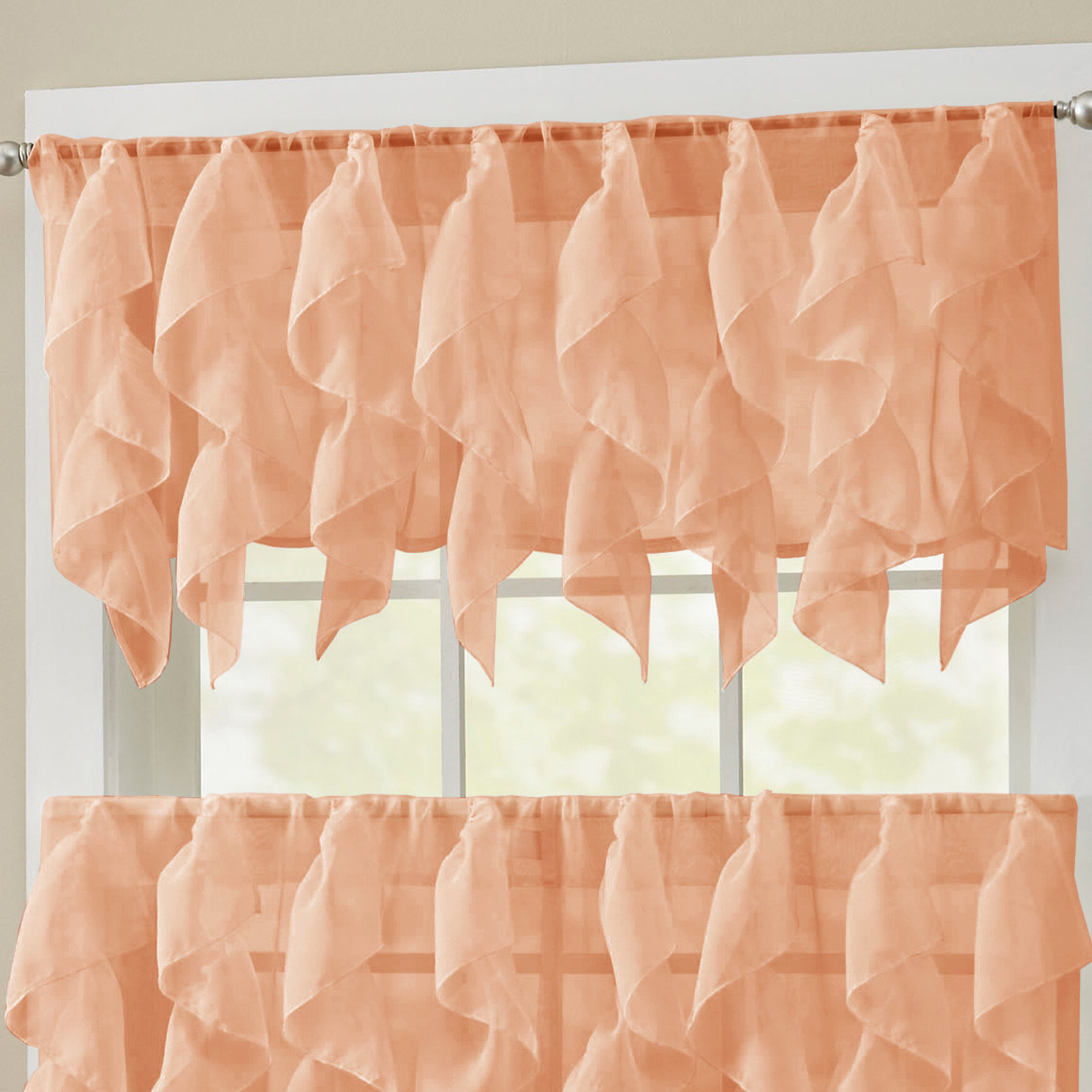Alonza Window Valance For Most Recent Maize Vertical Ruffled Waterfall Valance And Curtain Tiers (View 15 of 20)