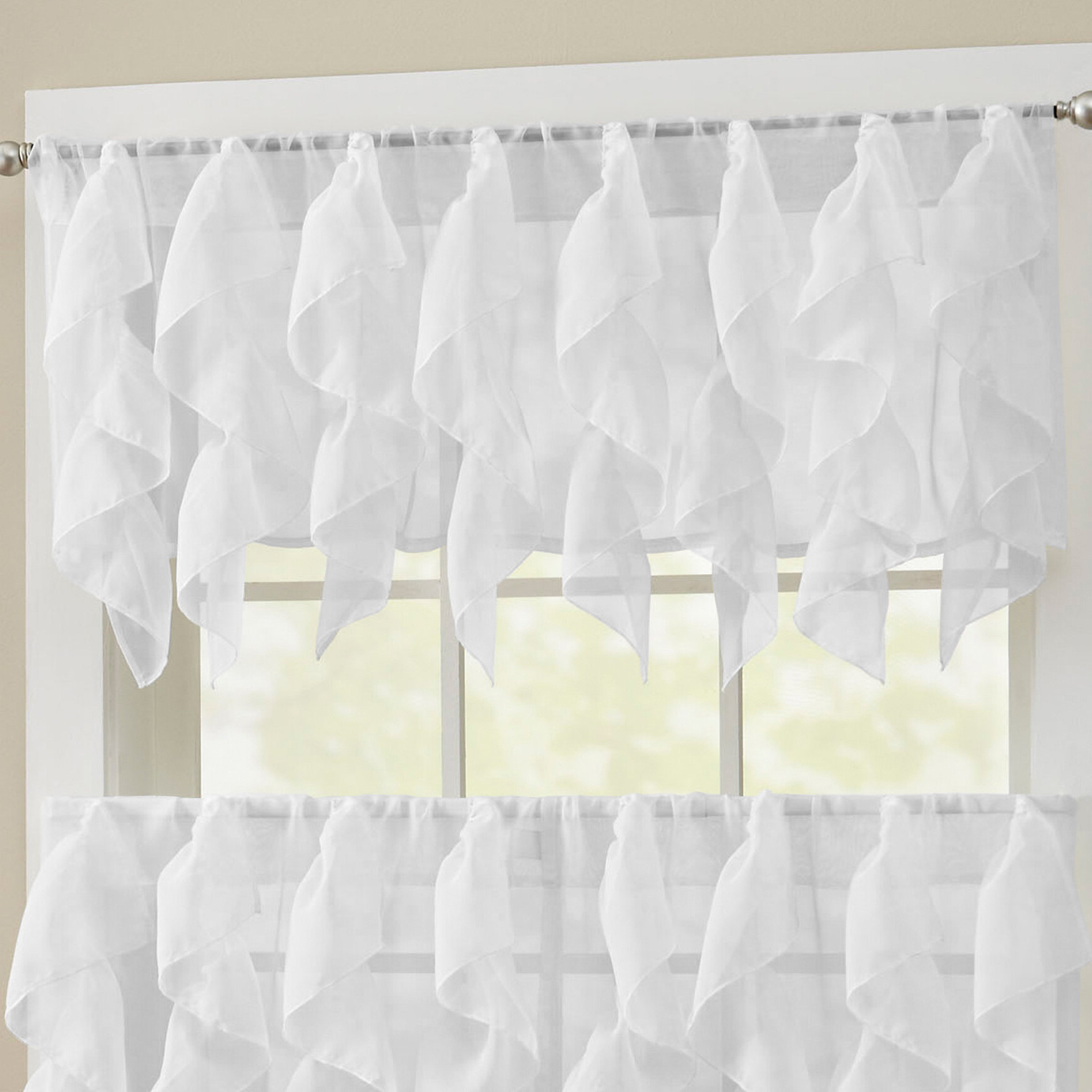 Alonza Window Valance Throughout Fashionable Silver Vertical Ruffled Waterfall Valance And Curtain Tiers (View 10 of 20)