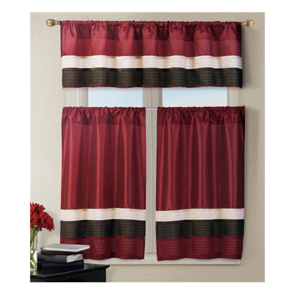 Amazon: 3 Piece Pintuck Stripes Kitchen Curtain Burgundy Within Recent Pintuck Kitchen Window Tiers (View 9 of 20)