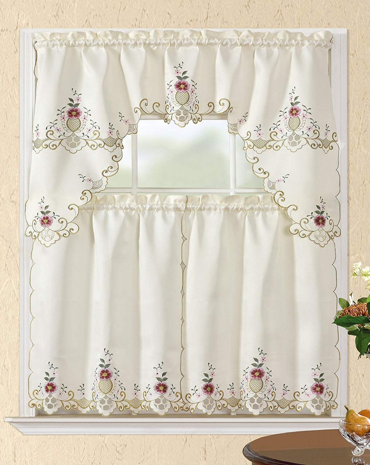 Amazon : All American Collection New 3pc Attached With Well Known Kitchen Burgundy/white Curtain Sets (View 17 of 20)
