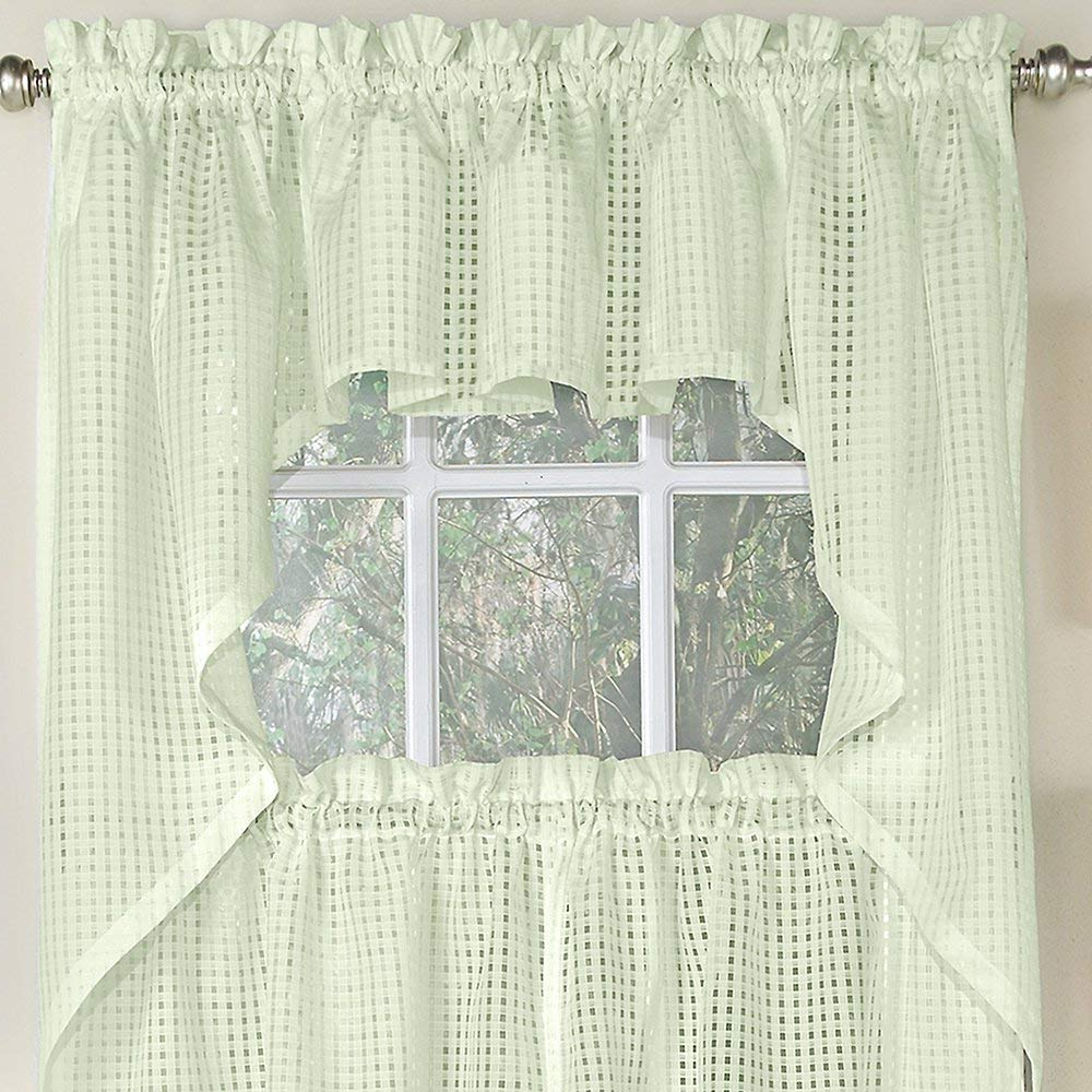 Amazon: Bed Bath N More Cream Tone On Tone Raised Micro Intended For Most Recent White Tone On Tone Raised Microcheck Semisheer Window Curtain Pieces (View 2 of 20)