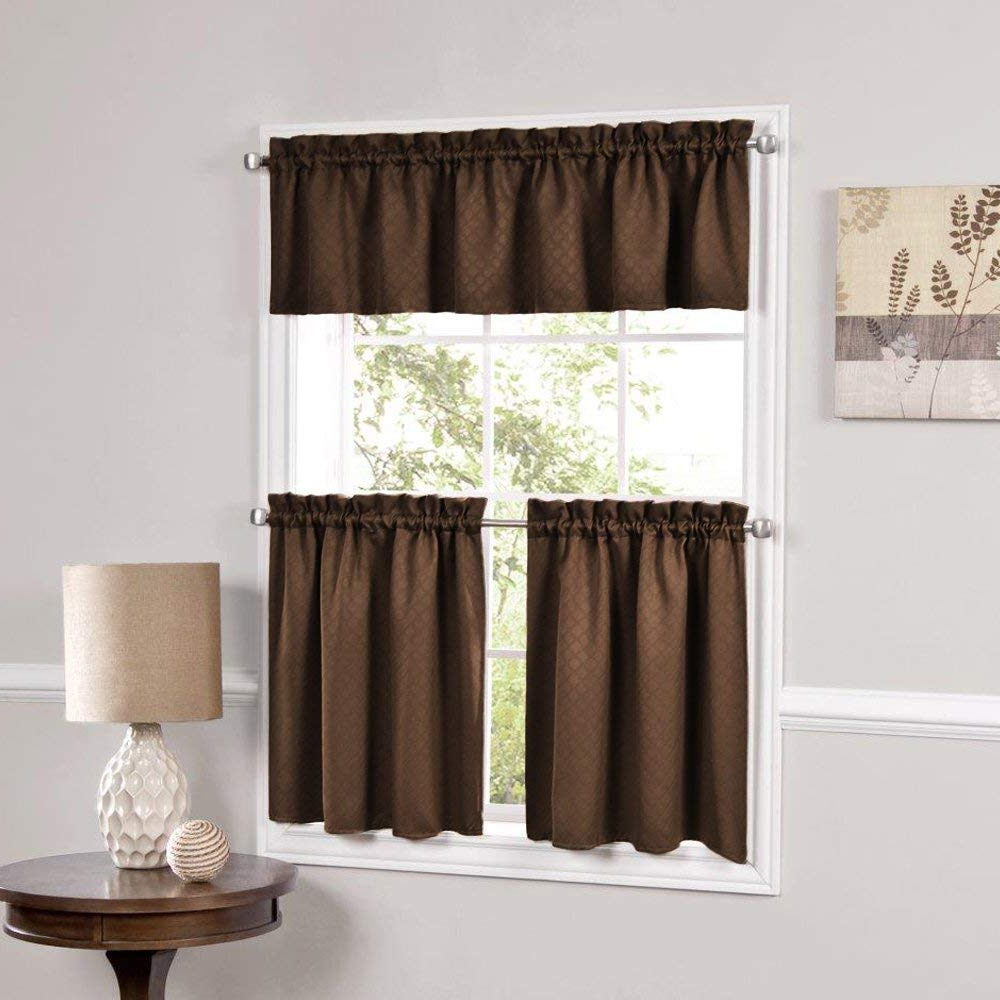 Amazon: Bed Bath N More Facets Blackout Insulated Within Favorite Tailored Valance And Tier Curtains (View 4 of 20)