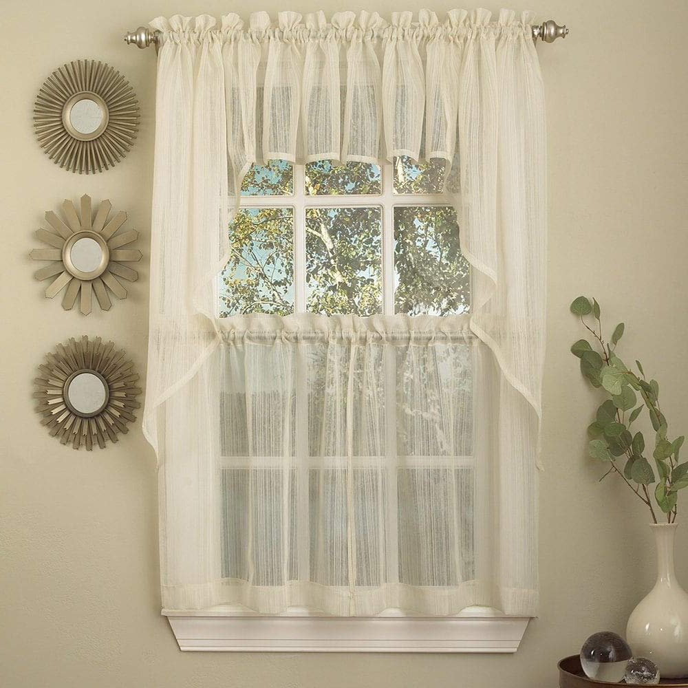 Featured Photo of Ivory Micro Striped Semi Sheer Window Curtain Pieces