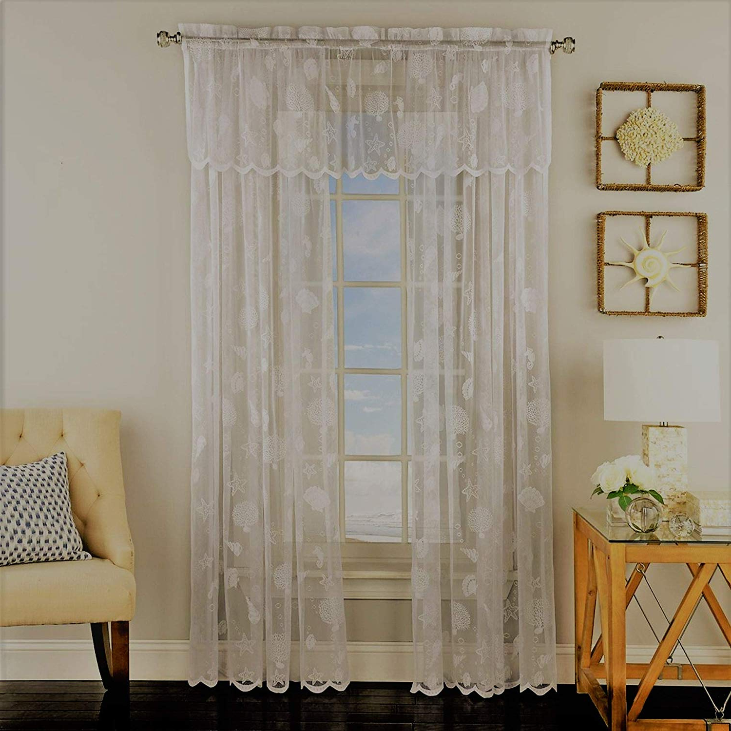 Amazon: Ben & Jonah Corales De Marinaben&jonah Pertaining To Well Known Marine Life Motif Knitted Lace Window Curtain Pieces (View 14 of 20)