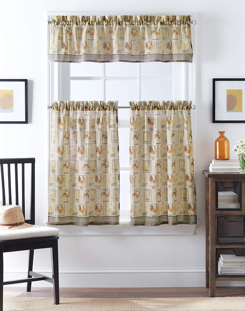 Amazon: Chf Farmhouse Rooster Print Window Kitchen Within Most Recent Barnyard Window Curtain Tier Pair And Valance Sets (View 9 of 20)