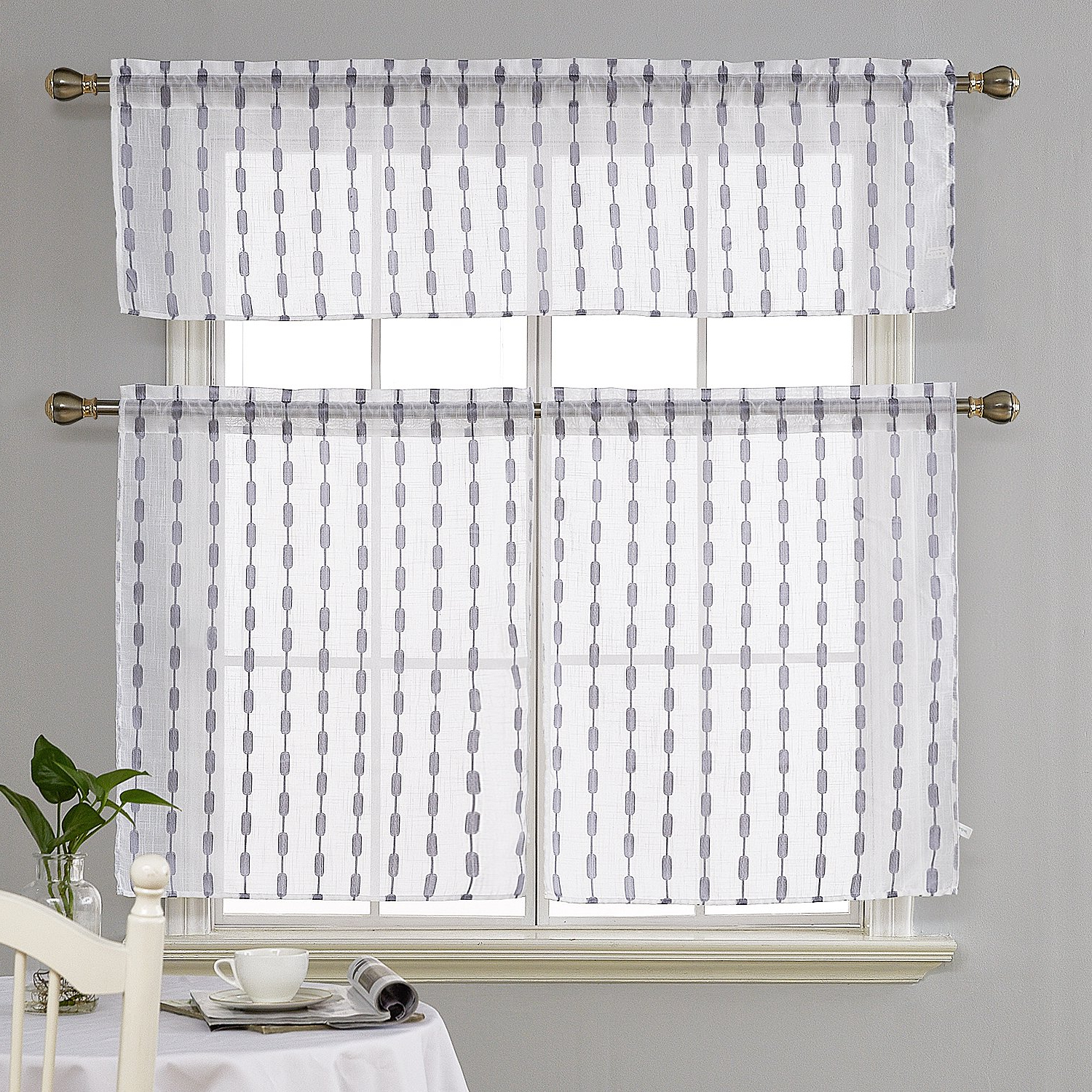 Amazon: Deconovo Rod Pocket Sheer Tier Curtains And Regarding Most Recently Released Coffee Drinks Embroidered Window Valances And Tiers (View 3 of 20)