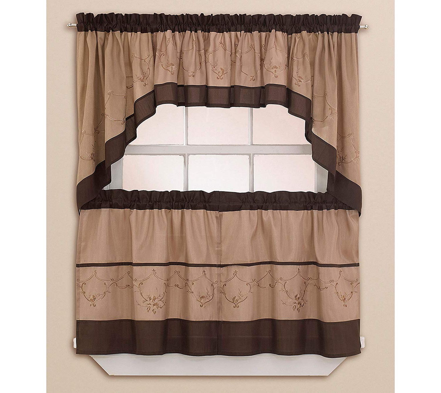 Amazon: Grace Tailored Tier Curtain Panel, Valance Chf With Regard To 2021 Tailored Valance And Tier Curtains (View 8 of 20)