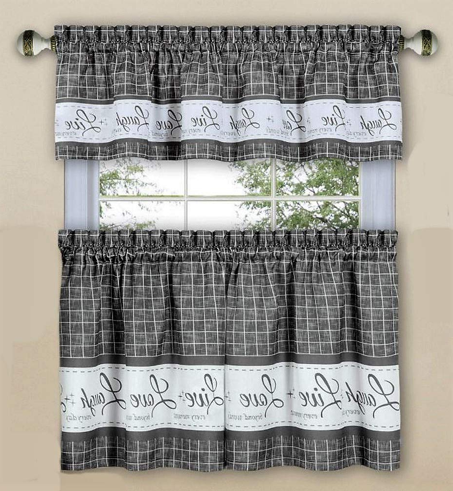 Amazon: Home Fashions Live Love Laugh Grey Kitchen Pertaining To 2020 Live, Love, Laugh Window Curtain Tier Pair And Valance Sets (View 11 of 20)