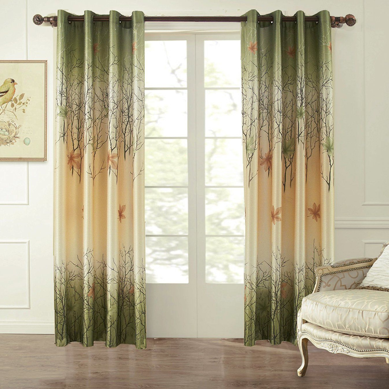 Amazon: Koting Home Fashion Set Of 2 Panels/pair,green Pertaining To Latest Floral Watercolor Semi Sheer Rod Pocket Kitchen Curtain Valance And Tiers Sets (View 15 of 20)