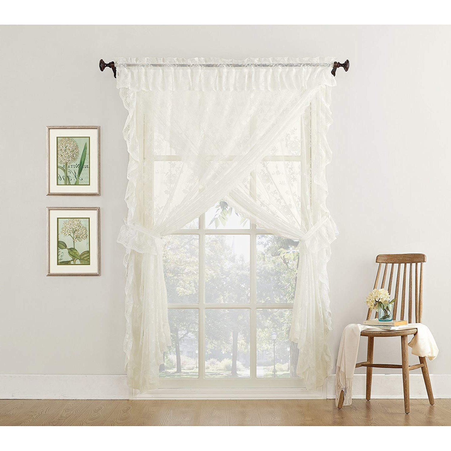 Amazon: Misc 5 Piece Ivory Priscilla Curtains, Sheer Intended For Latest Cotton Lace 5 Piece Window Tier And Swag Sets (View 20 of 20)