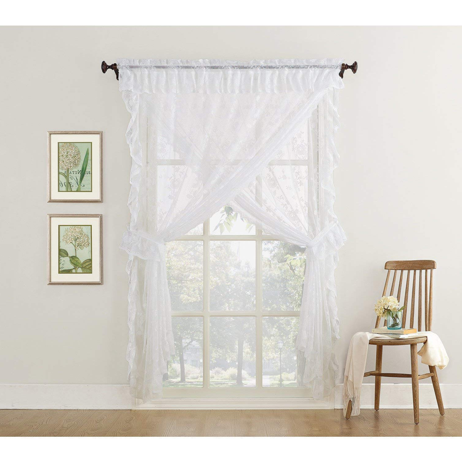 Amazon: Misc 5 Piece White Priscilla Curtains, Sheer Throughout Most Up To Date Elegant White Priscilla Lace Kitchen Curtain Pieces (View 6 of 20)