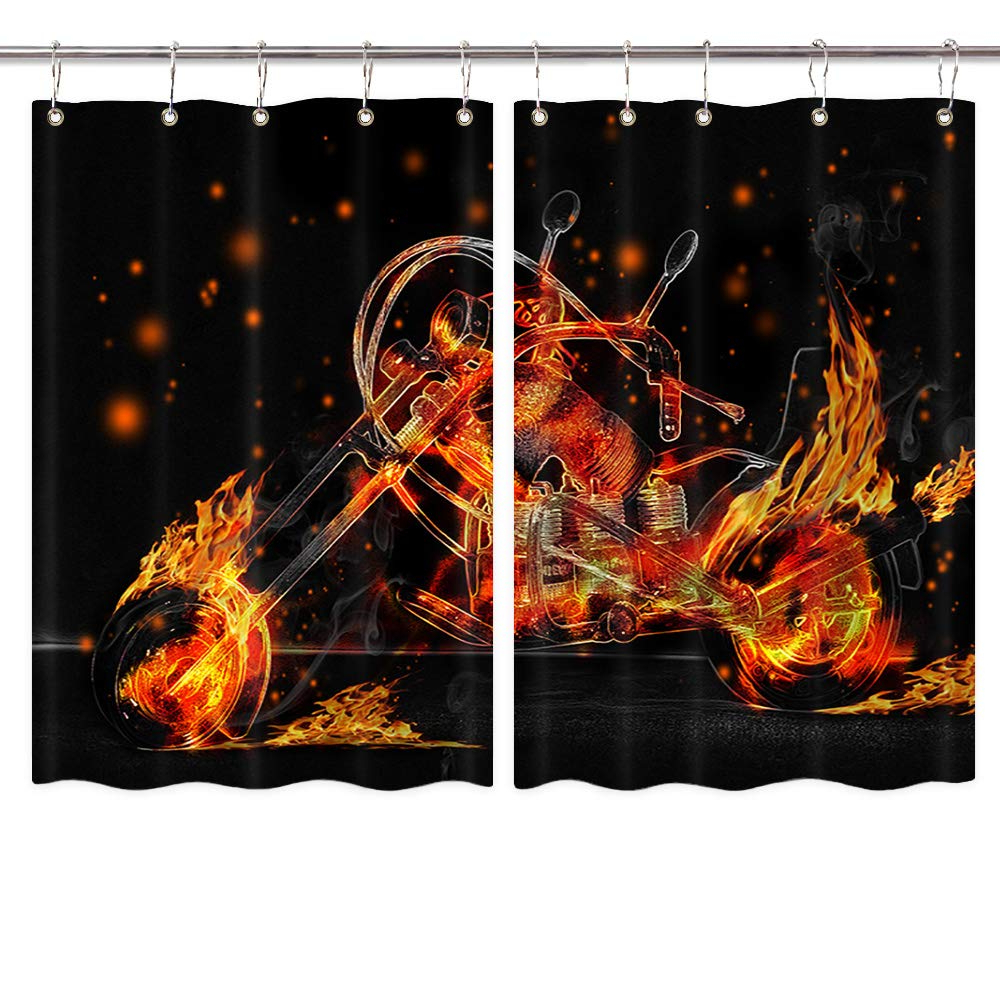 Amazon: Nymb Motorcycle Kitchen Window Curtain Sets Inside Favorite Classic Kitchen Curtain Sets (View 2 of 20)